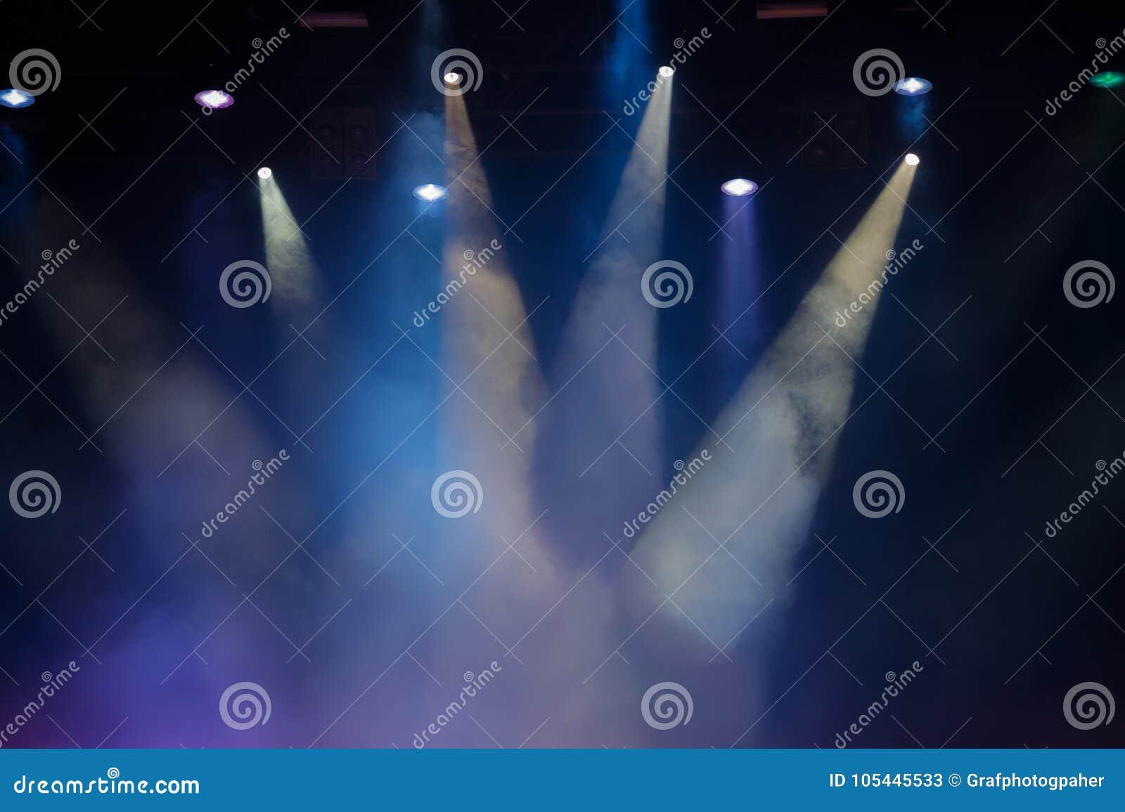 Σκηνή συναυλίας Σκηνικά φω τα Ζωηρόχρωμο υπόβαθρο των σκηνικών φω των