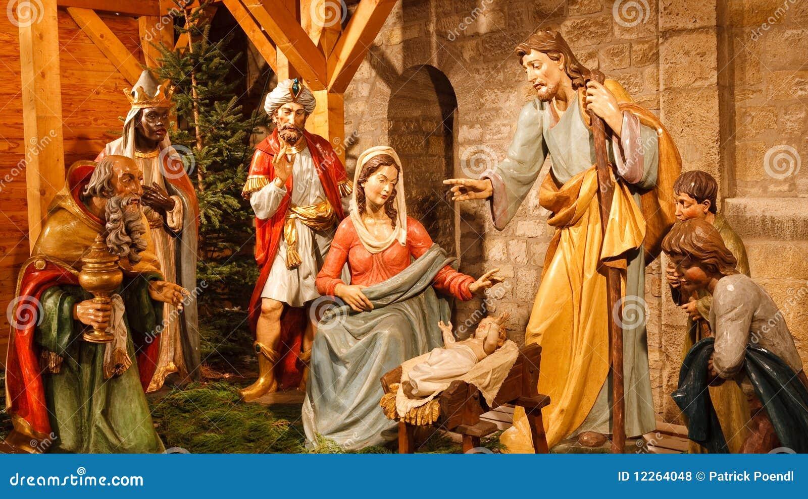 σκηνή nativity του Ιησού Joseph Mary Χριστ&om