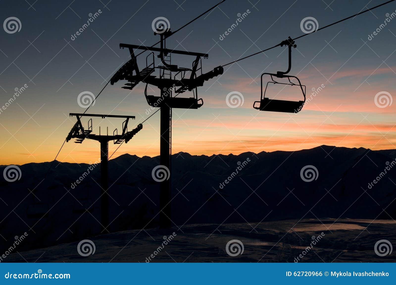 Σκιαγραφία ανελκυστήρων ενάντια στον ουρανό ηλιοβασιλεμάτων