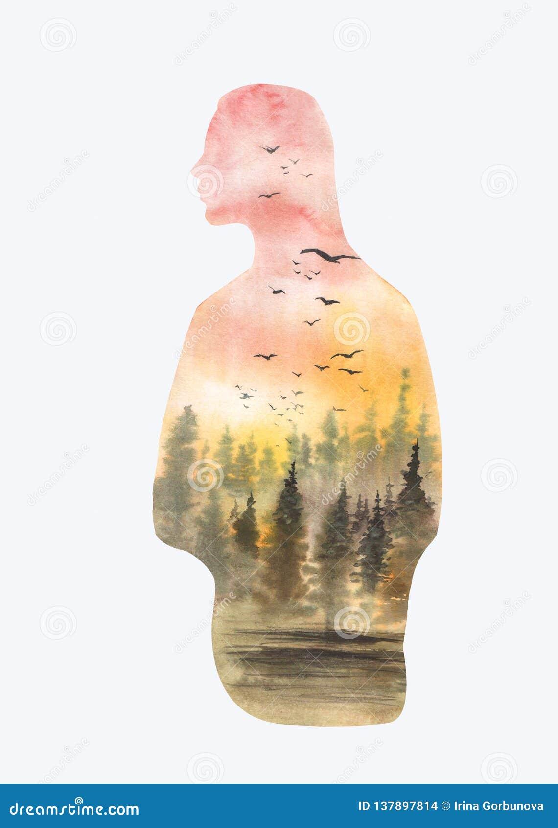 Σκιαγραφία απεικόνισης κοριτσιών Watrcolor με το δασικό τοπίο που απομονώνεται στο άσπρο υπόβαθρο