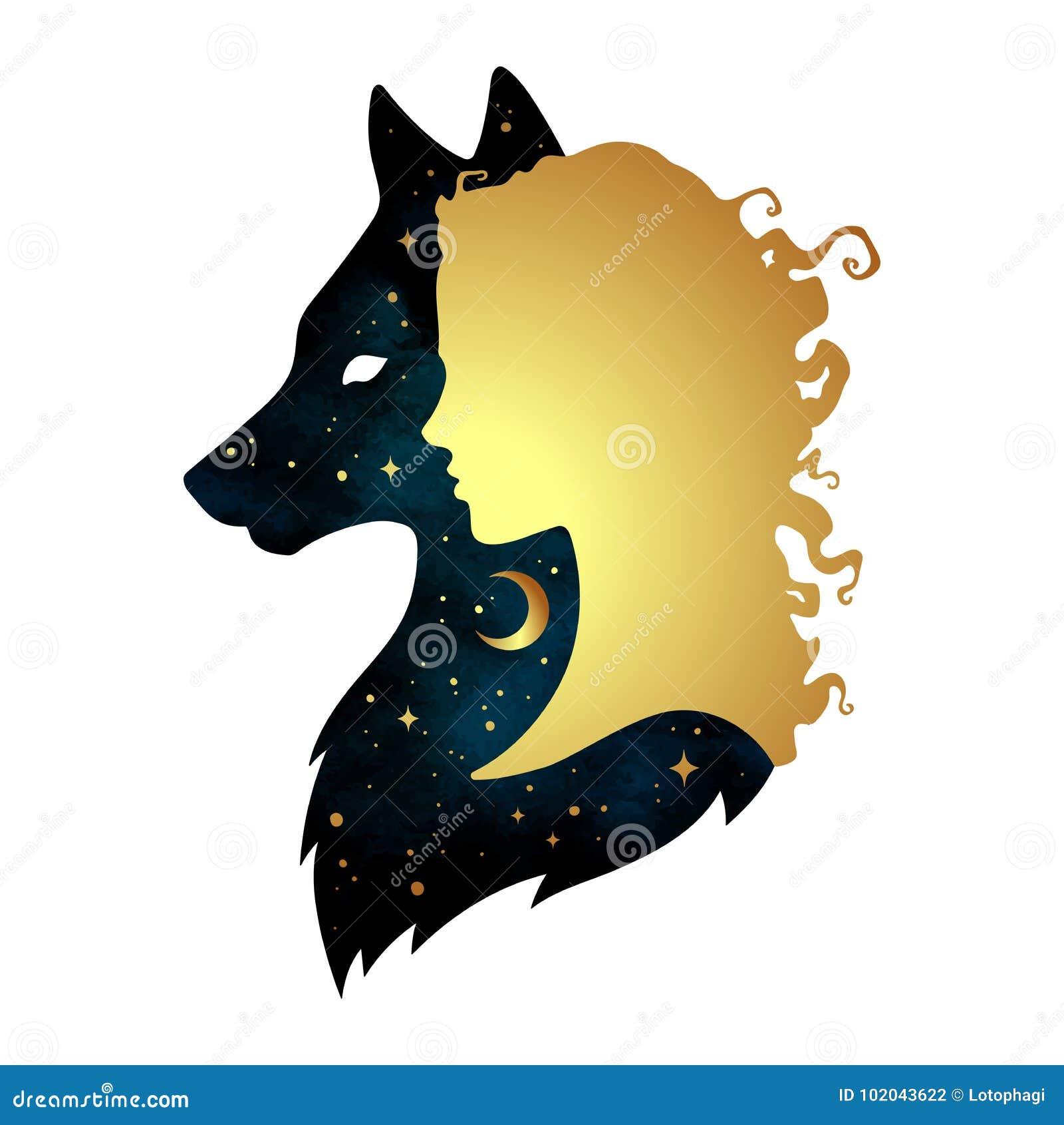 Σκιαγραφία της όμορφης γυναίκας με τη σκιά του λύκου με το ημισεληνοειδές φεγγάρι και των αστεριών που απομονώνονται Σχέδιο διανυ
