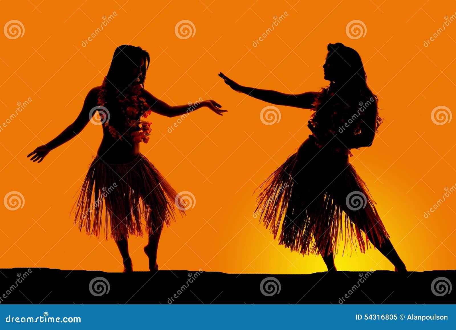 Σκιαγραφία του της Χαβάης χορού φουστών χλόης γυναικών