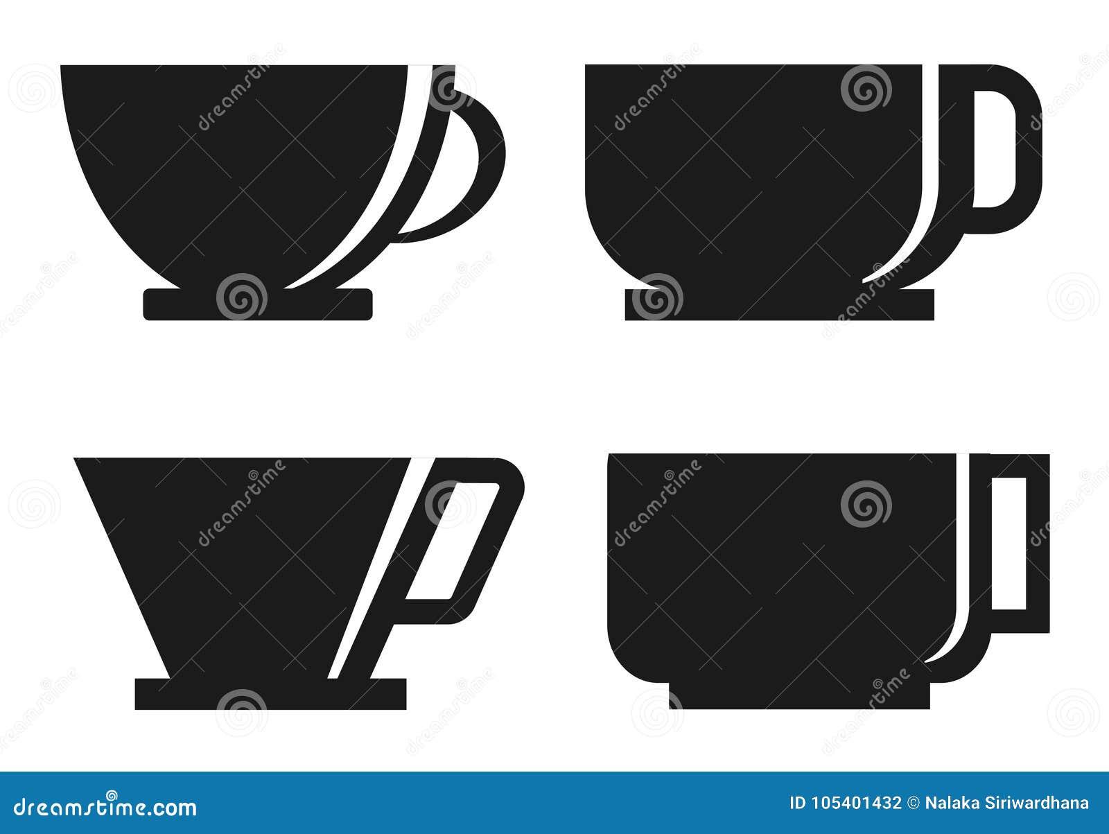 Download Σκιαγραφία φλυτζανιών καφέ τέσσερα Διανυσματική απεικόνιση - εικονογραφία από γραφικός, αδελφών: 105401432