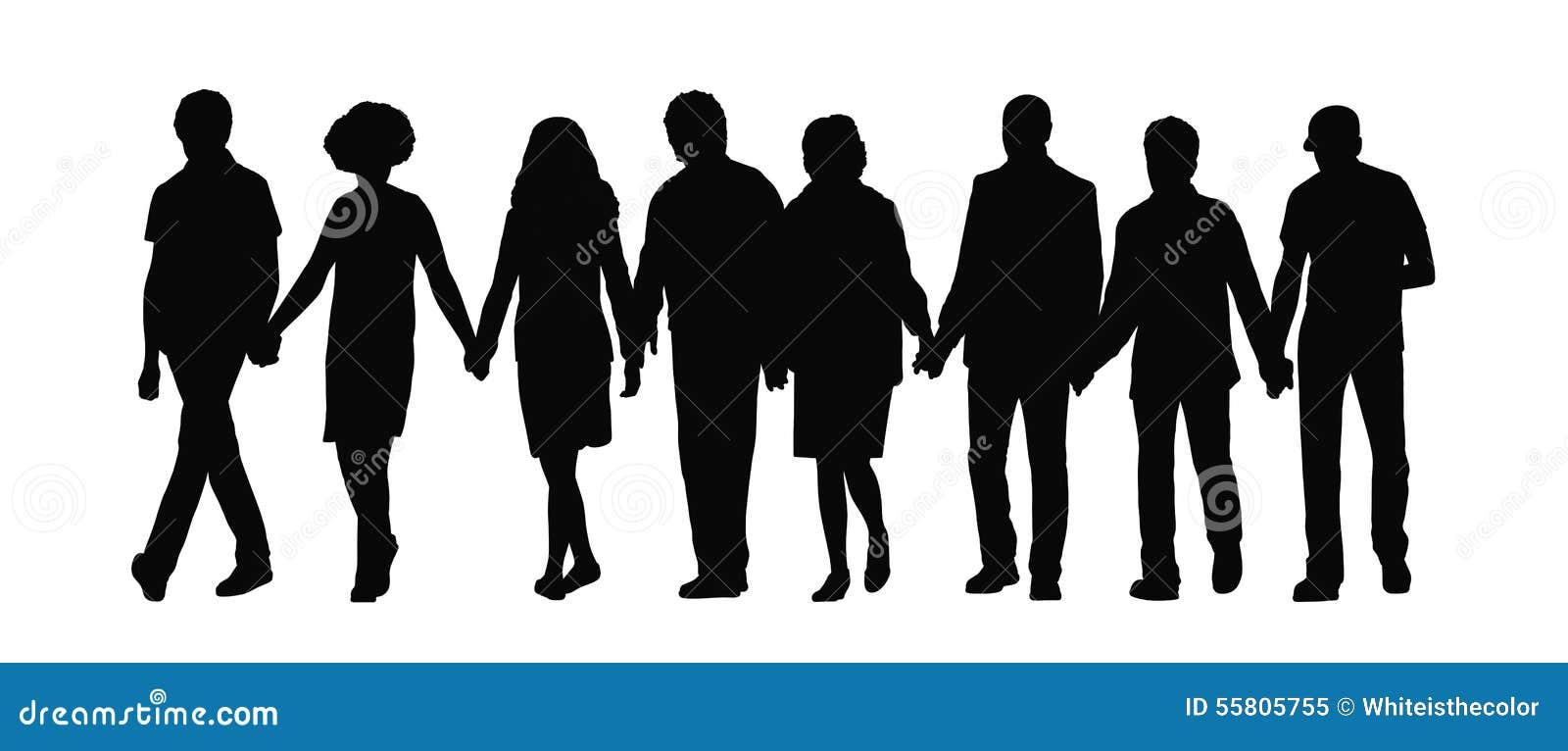 Σκιαγραφία 1 χεριών εκμετάλλευσης ομάδας ανθρώπων
