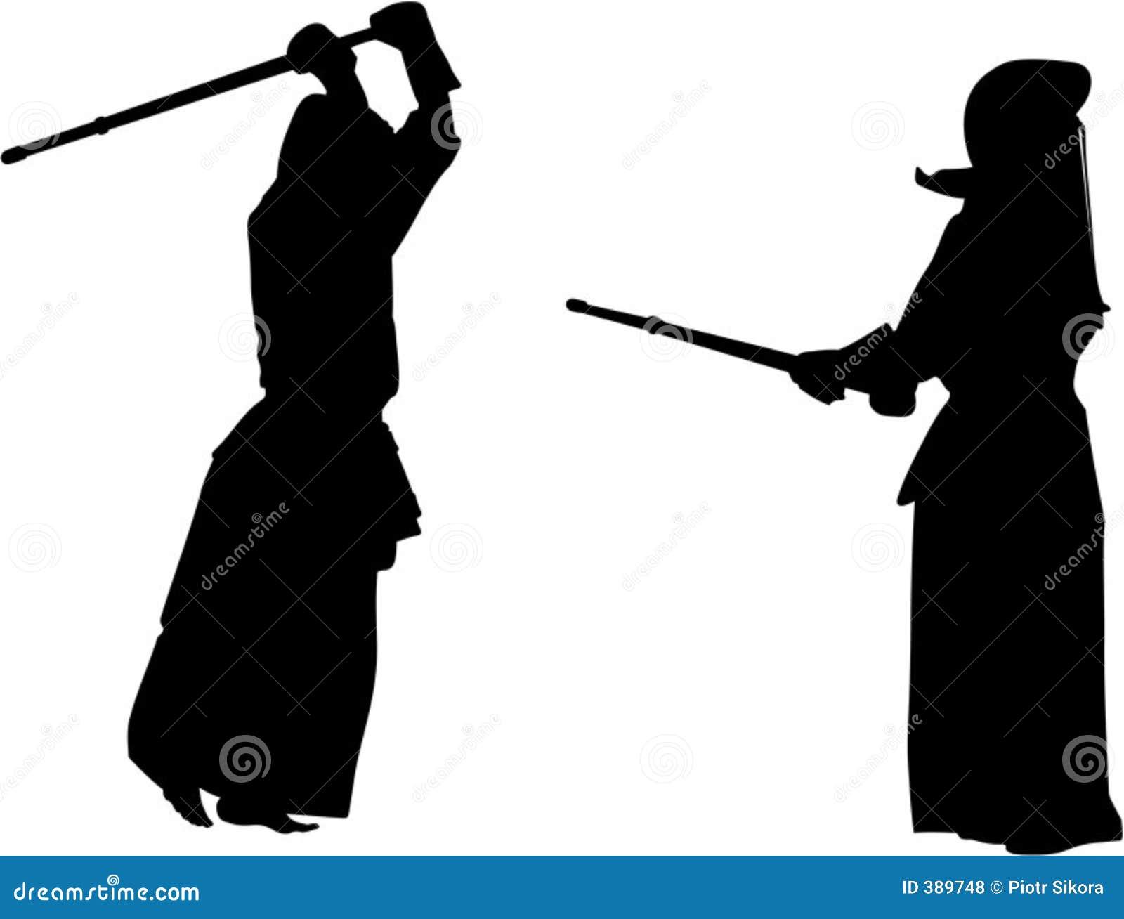 σκιαγραφία kendo 2 μαχητών