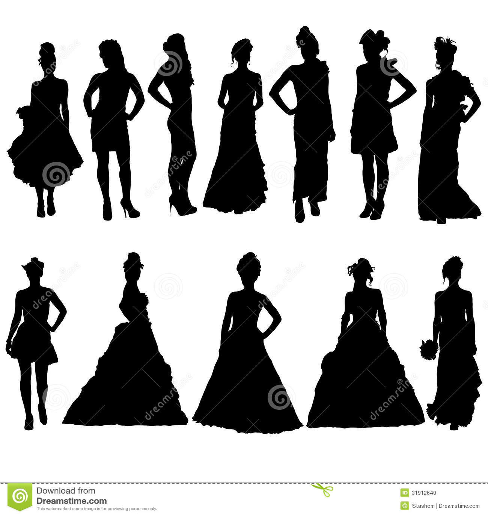 c45c12f09258 Σκιαγραφίες γυναικών στα διάφορα φορέματα. Διανυσματική απεικόνιση ...