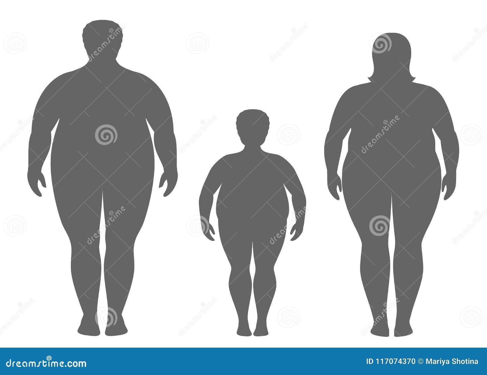 Σκιαγραφίες του παχιών άνδρα, της γυναίκας και του παιδιού