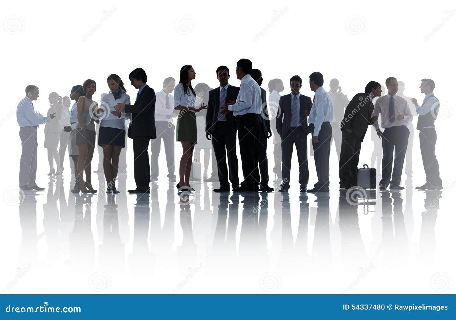 Σκιαγραφίες των εταιρικών επιχειρηματιών που απασχολούνται στην έννοια