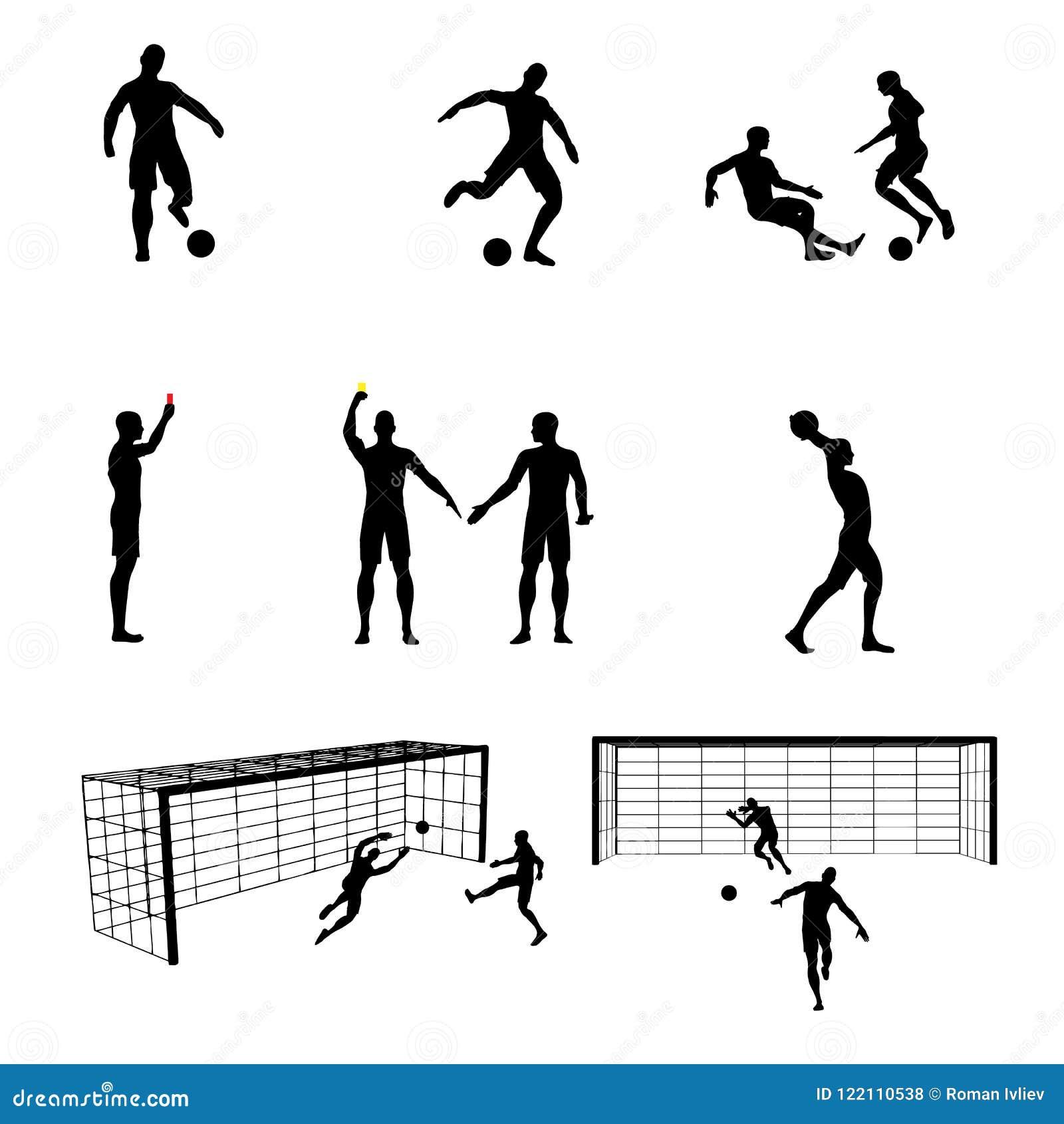 Σκιαγραφίες των ποδοσφαιριστών και του διαιτητή