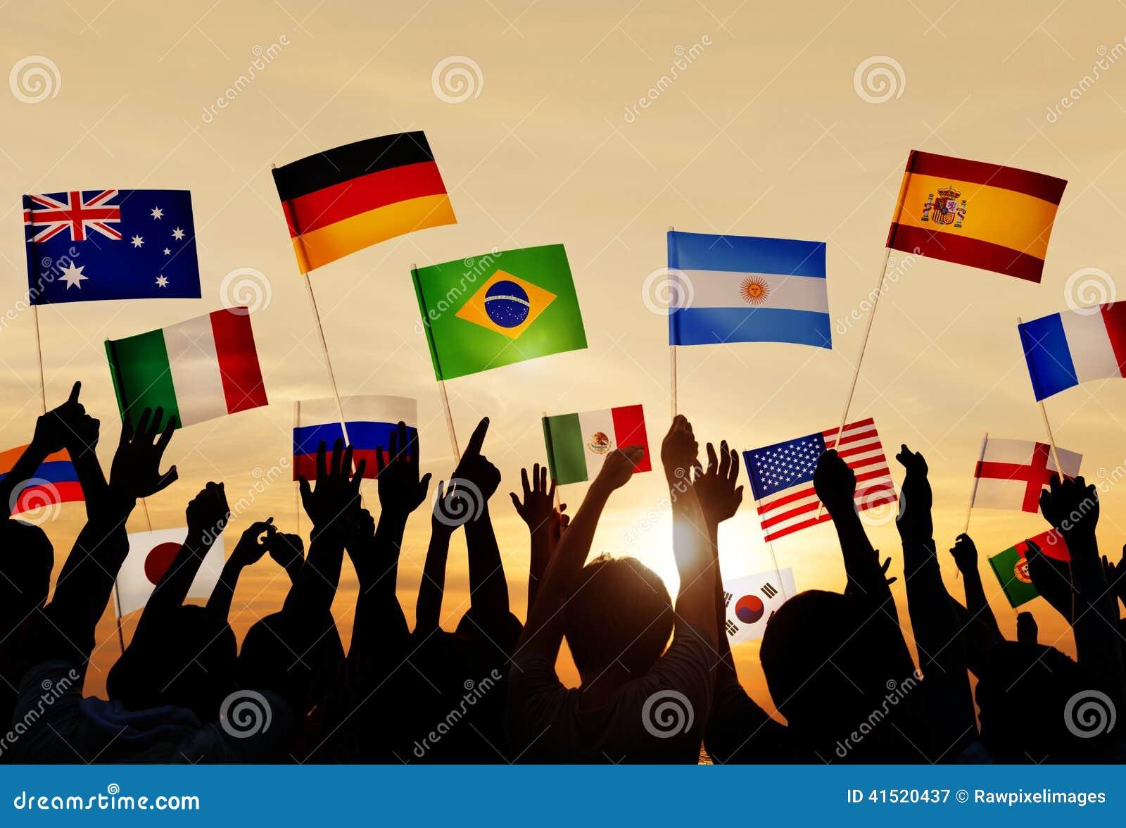 Σκιαγραφίες των σημαιών εκμετάλλευσης ανθρώπων από τις διάφορες χώρες