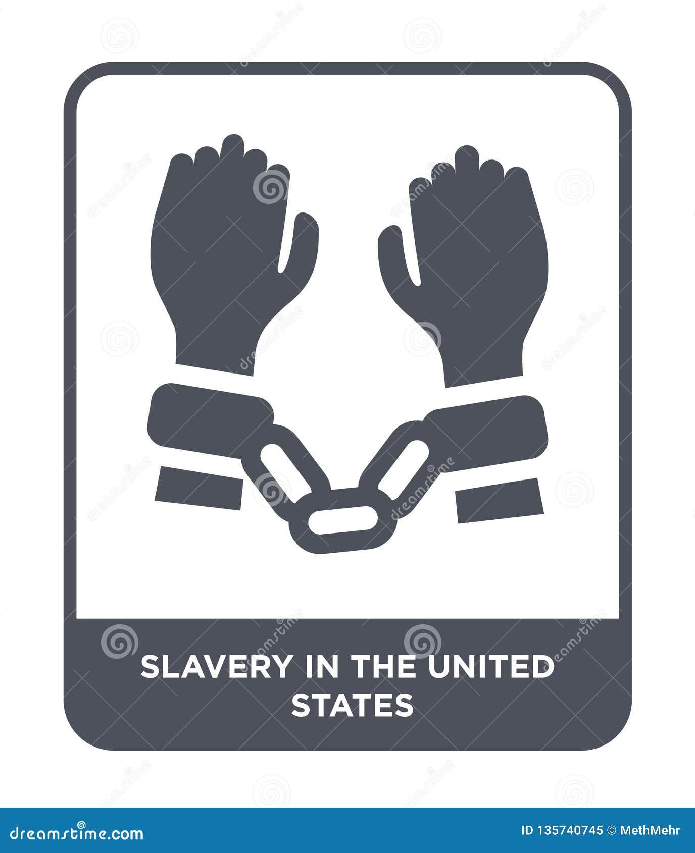 σκλαβιά Ηνωμένο εικονίδιο στο καθιερώνον τη μόδα ύφος σχεδίου σκλαβιά στο Ηνωμένο εικονίδιο απομονώνω στο άσπρο υπόβαθρο σκλαβιά