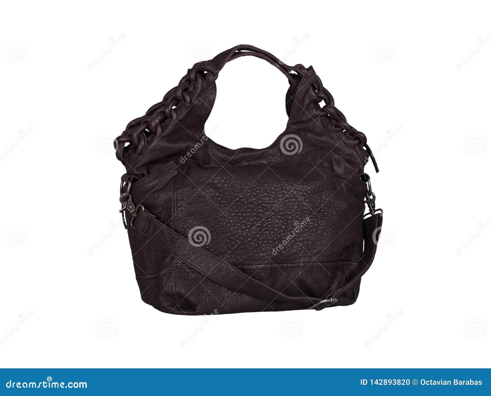 Σκοτεινή καφετιά τσάντα δέρματος σουέτ που απομονώνεται στο άσπρο υπόβαθρο