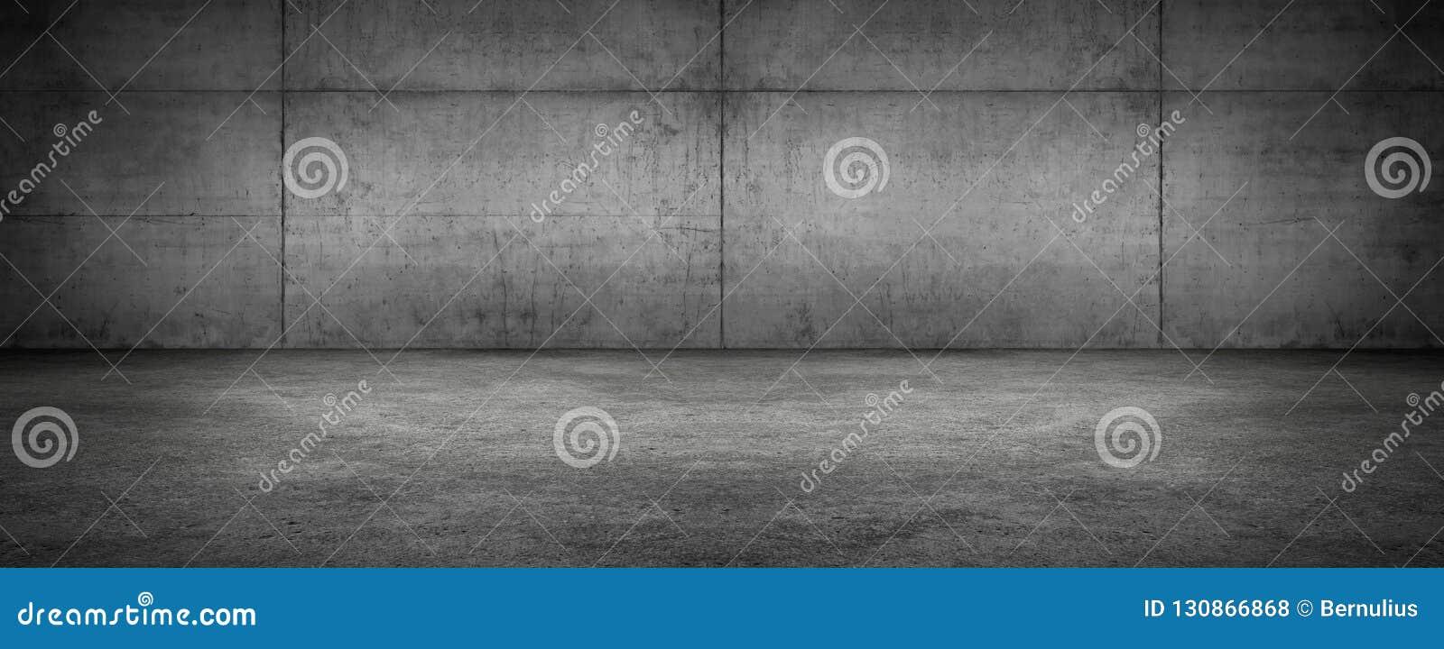 Σκοτεινό κενό σκηνικό σύγχρονο πανοραμικό κατασκευασμένο υπόβαθρο δωματίων συμπαγών τοίχων