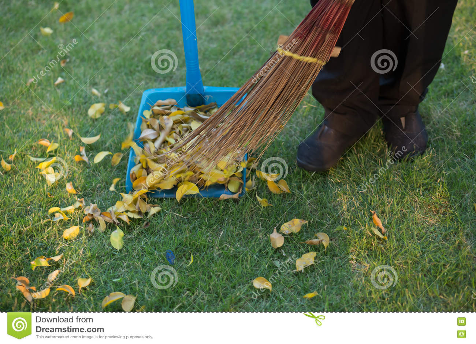 Σκουπίζοντας φύλλα στη χλόη