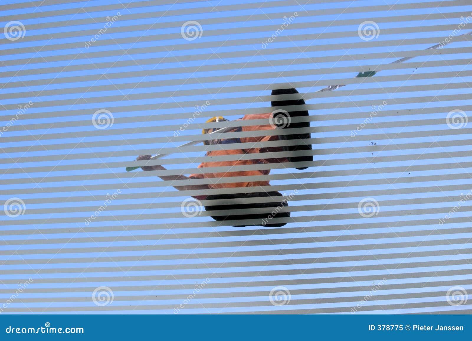 σκούπισμα στεγών ατόμων γυαλιού