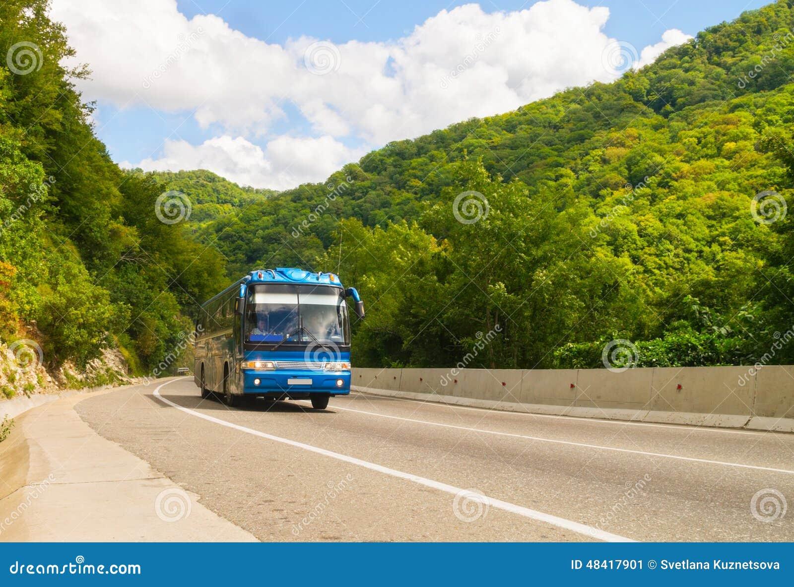 Σκούρο μπλε λεωφορείο τουριστών