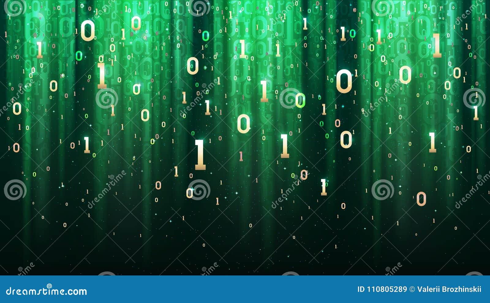 Σκούρο πράσινο υπόβαθρο με το δυαδικό κώδικα, τσέκια, ελαφριά, χρυσά ψηφία στο διάστημα