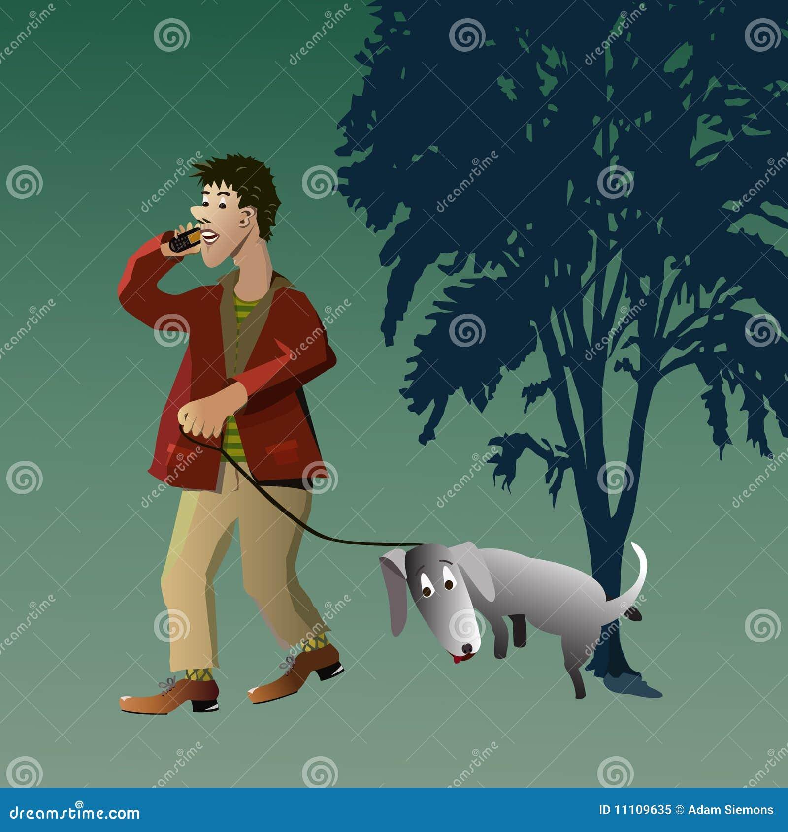 σκυλί το περπάτημα ατόμων τ&om