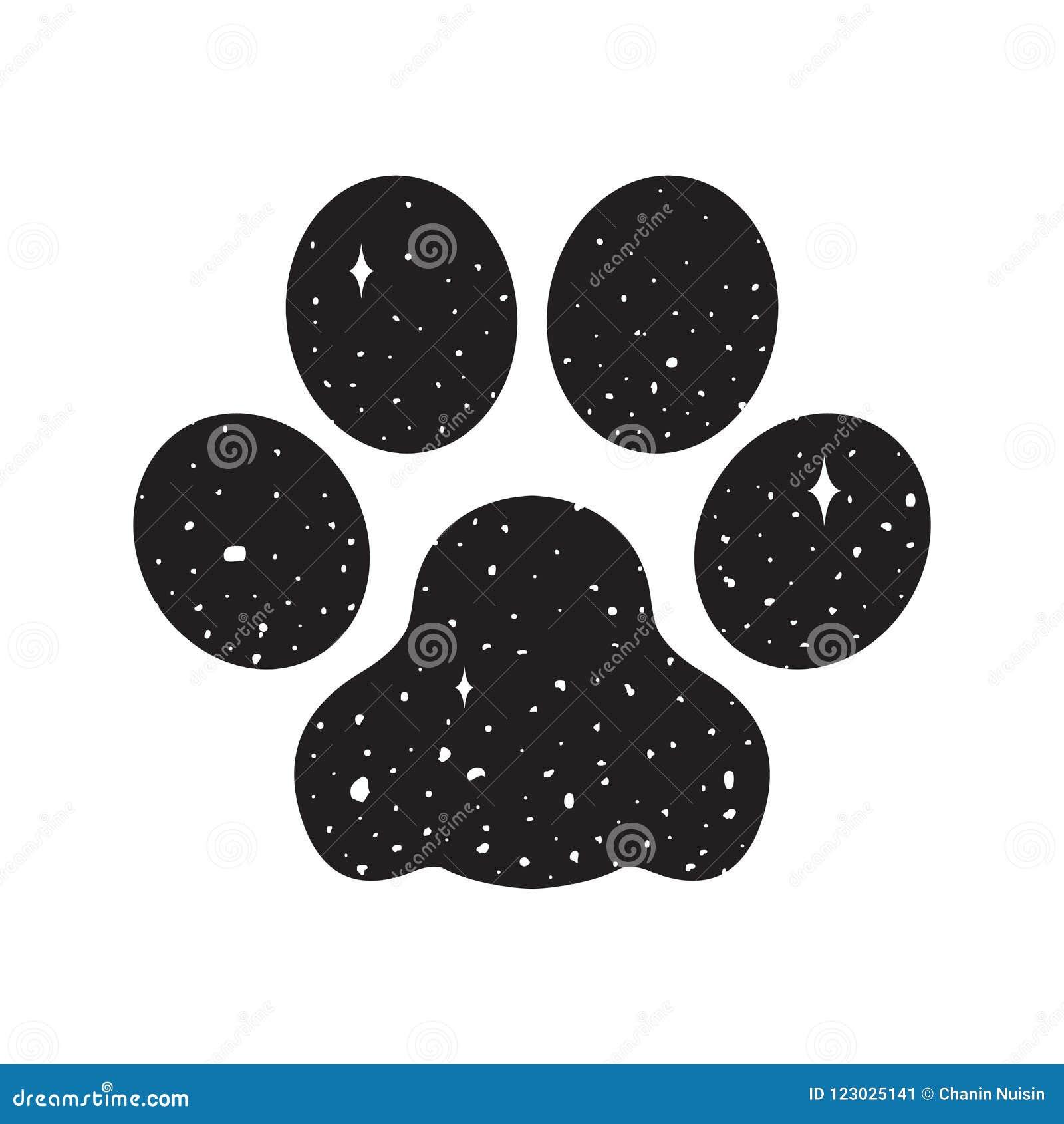 Σκυλιών ποδιών διανυσματικό εικονιδίων λογότυπων μπουλντόγκ διαστημικό νυχτερινού ουρανού υπόβαθρο ταπετσαριών κινούμενων σχεδίων