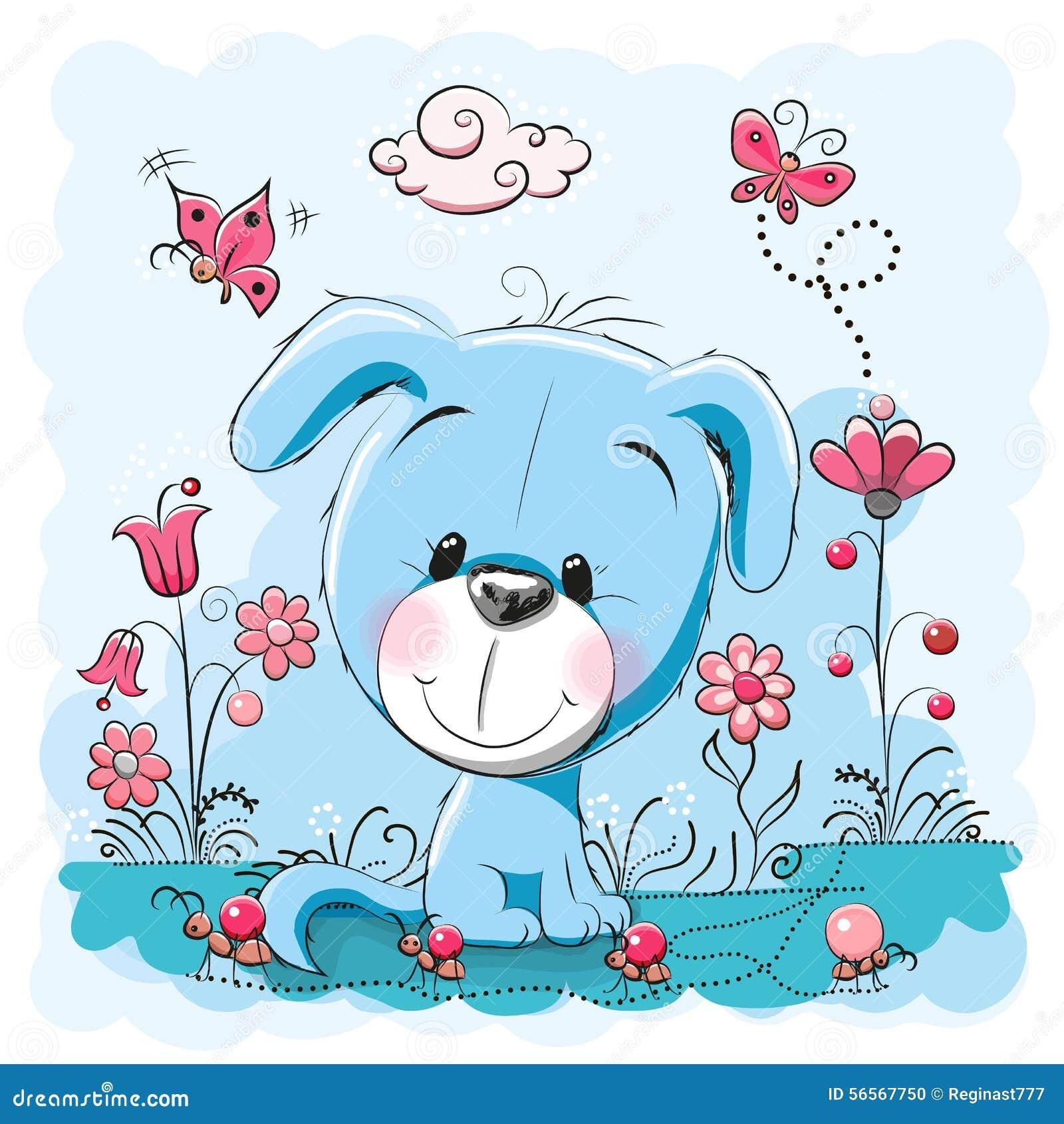 Σκυλί με τα λουλούδια