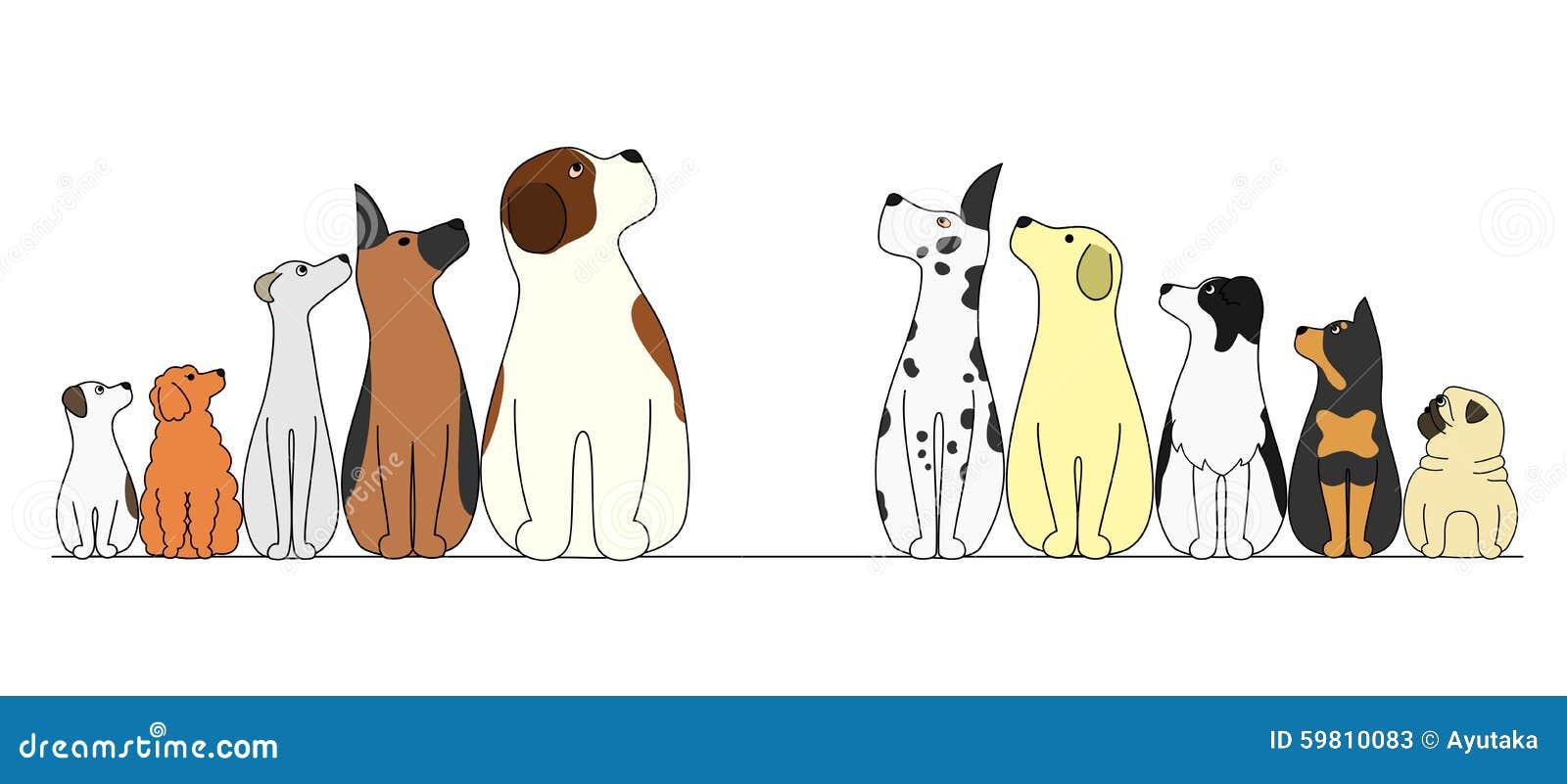 Σκυλιά σε μια σειρά, που φαίνεται κέντρο