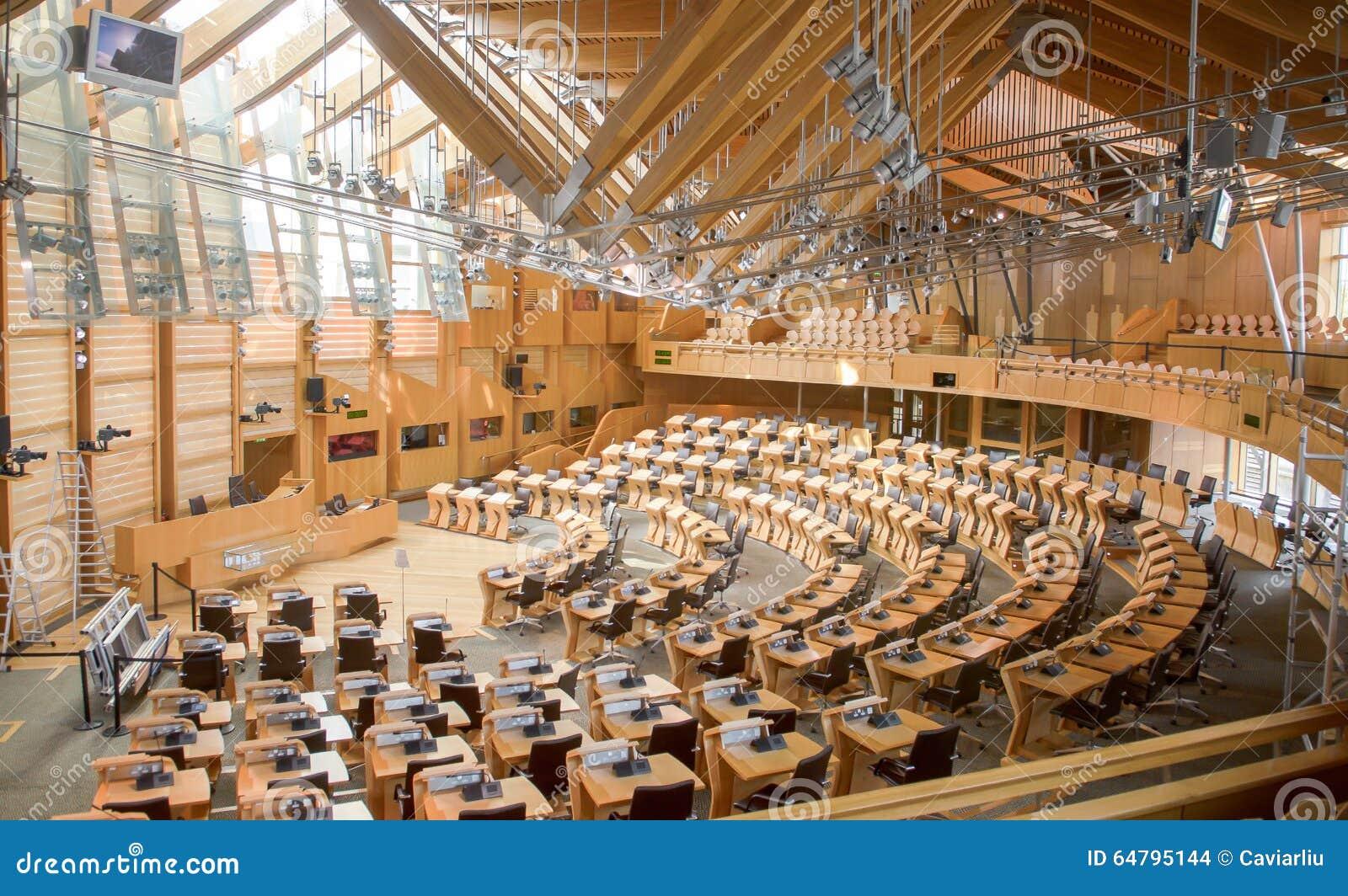 Σκωτσέζικη αίθουσα συζήτησης του Κοινοβουλίου, εσωτερικό του Κοινοβουλίου του Εδιμβούργου, που χτίζεται το 2004