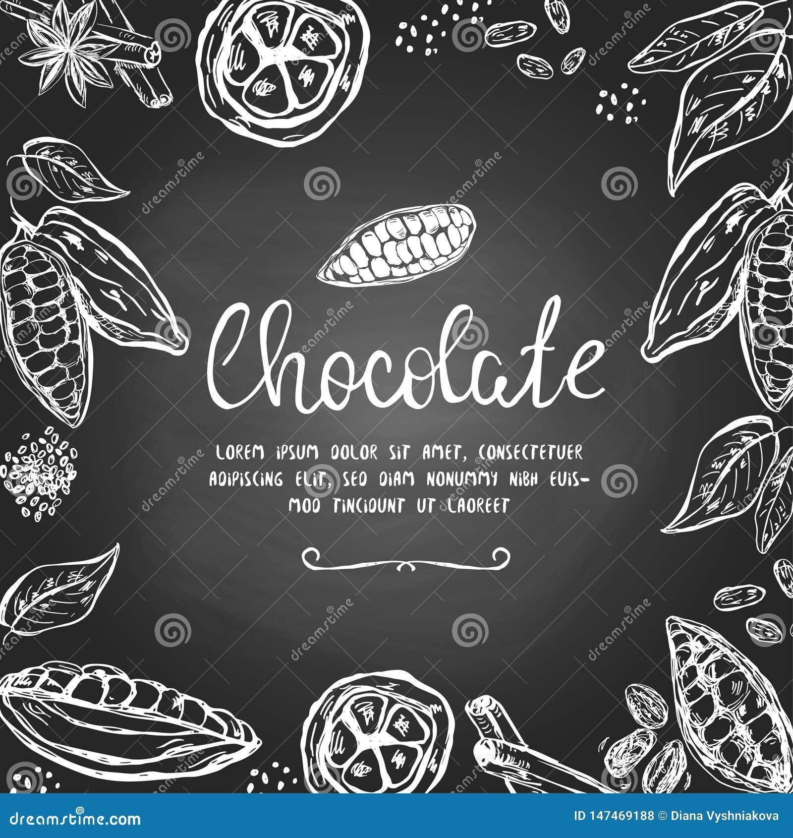 Σοκολάτα templatre με συρμένους τους χέρι λοβούς κακάου και άλλα στοιχεία