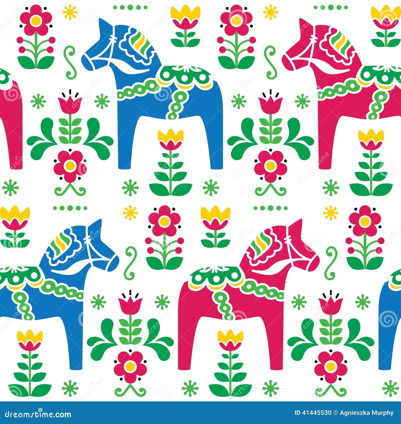 Σουηδική λαϊκή τέχνη Dala ή άνευ ραφής σχέδιο αλόγων Daleclarian