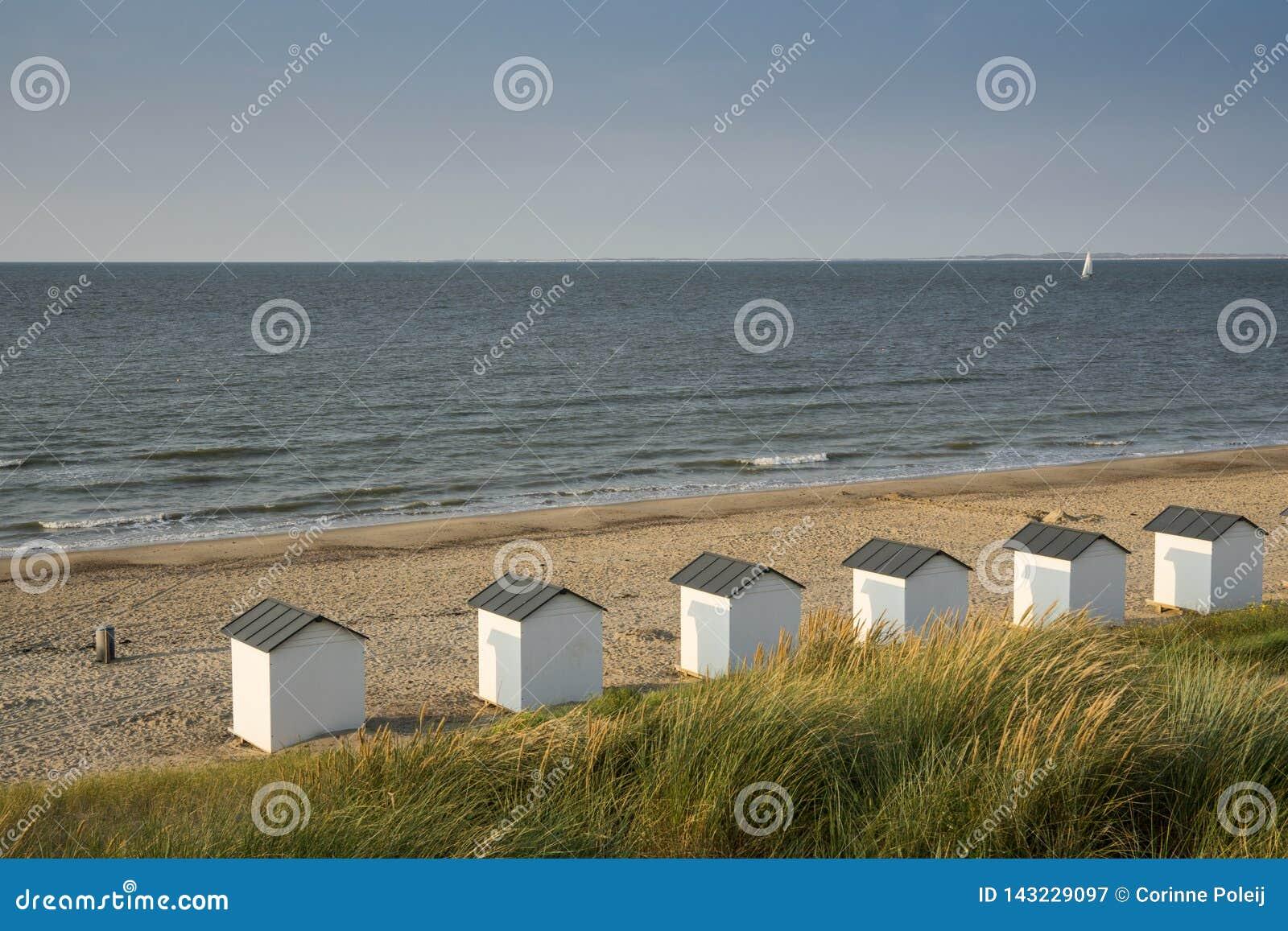 Σπίτια παραλιών στους αμμόλοφους Cadzand κακούς, οι Κάτω Χώρες