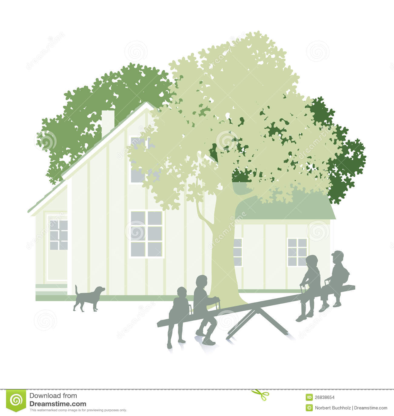 b11b9384fc15 Απεικόνιση ενός σύγχρονων σπιτιού και ενός κήπου με τα δέντρα