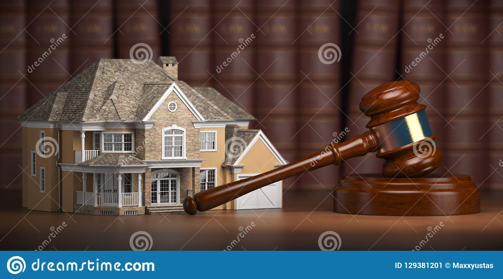 Σπίτι με gavel και νόμου τα βιβλία Νόμος ακίνητων περιουσιών και aucti σπιτιών