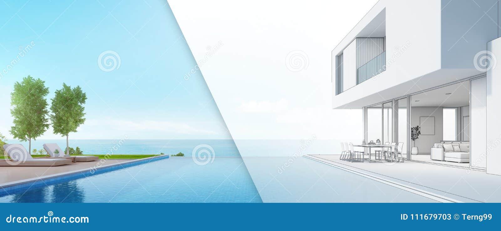 bcdd9f4aa340 Σπίτι παραλιών πολυτέλειας με την πισίνα άποψης θάλασσας και πεζούλι ...