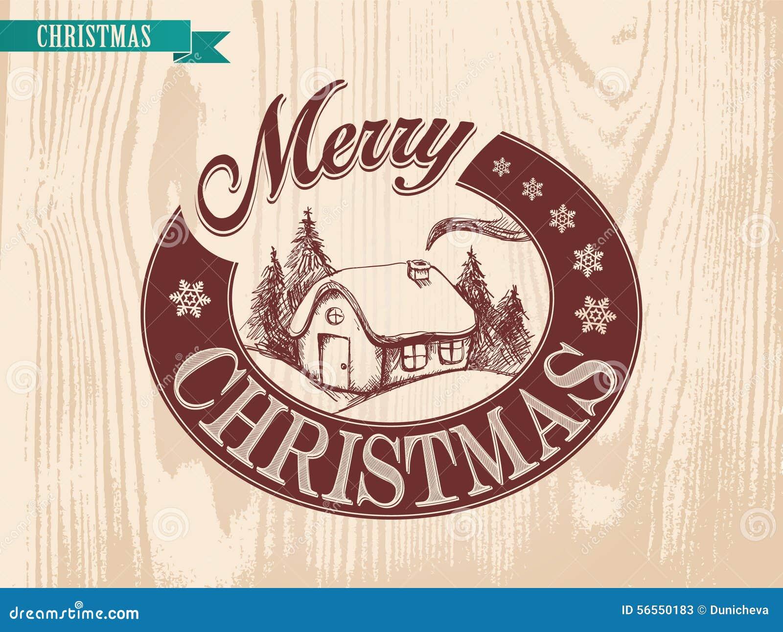 Download Σπίτι Χριστουγέννων απεικόνισης που εκτελείται από το εκλεκτής ποιότητας ύφος Διανυσματική απεικόνιση - εικονογραφία από ζωγραφική, στέγη: 56550183