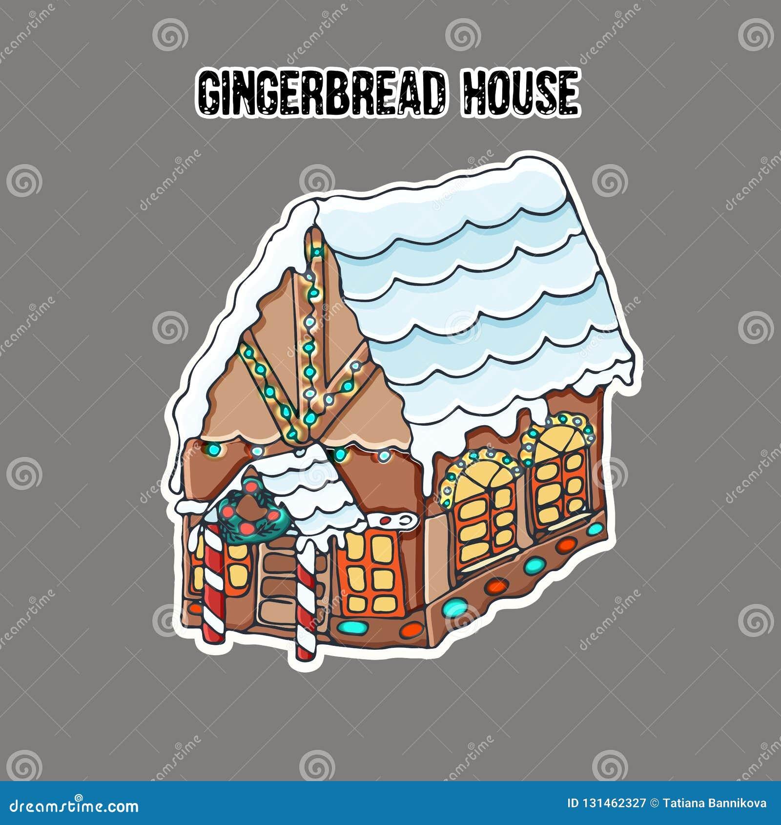 Σπίτι ψωμιού πιπεροριζών sticker Μικρό χαριτωμένο σπίτι μελοψωμάτων, με μια στέγη που καλύπτεται με το χιόνι και το φωτεινό φωτισ