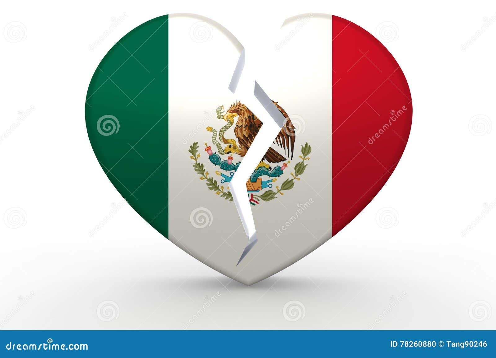Σπασμένη άσπρη μορφή καρδιών με τη σημαία του Μεξικού