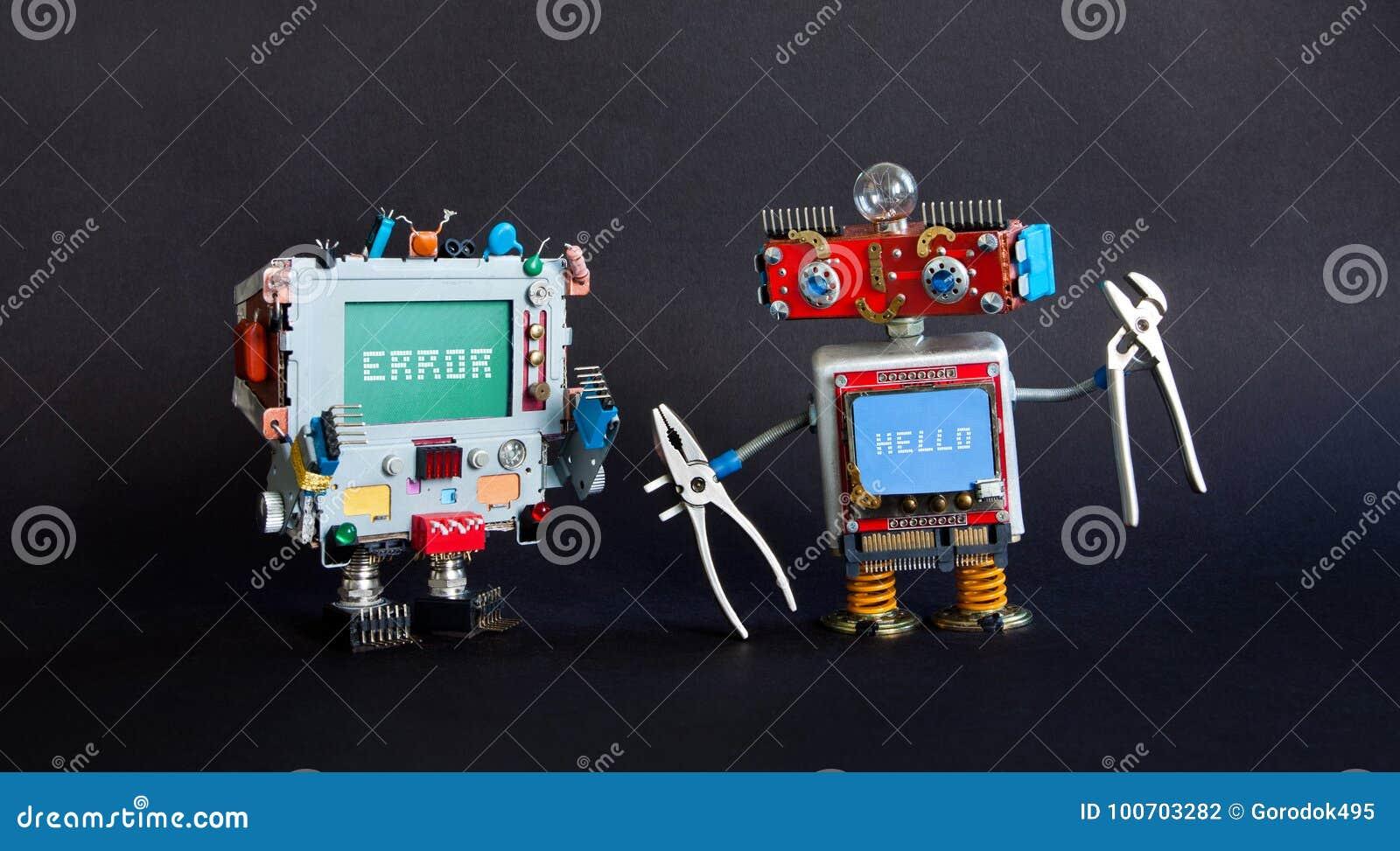Σπασμένη καθορίζοντας έννοια υπολογιστών Οι handyman πένσες ρομπότ επισκευάζουν το σπασμένο όργανο ελέγχου cyborg Μήνυμα λάθους σ
