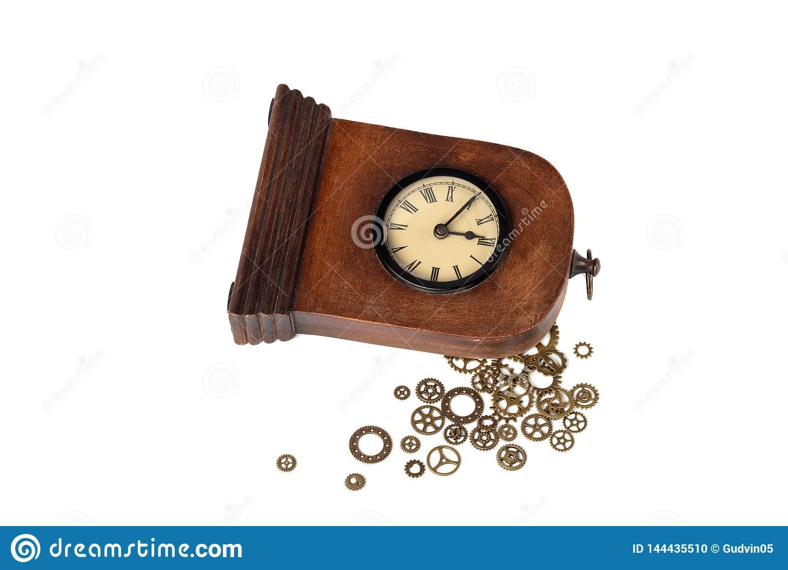 Σπασμένο εκλεκτής ποιότητας ρολόι στο άσπρο υπόβαθρο Εργαλεία ρολογιών έξω