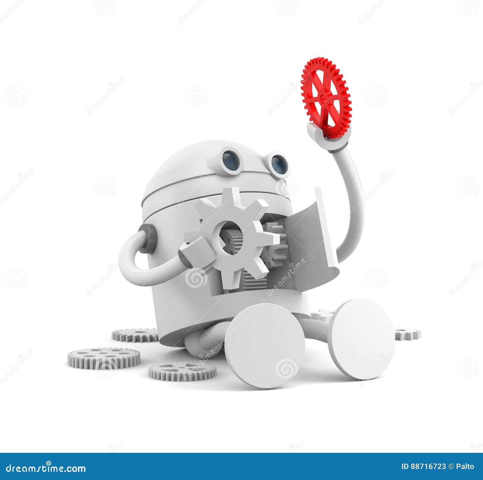 Σπασμένο ρομπότ με τις λεπτομέρειες του μηχανισμού του Για τα προγράμματα ιστοχώρου σας