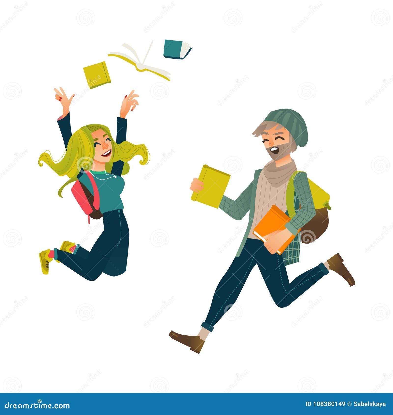 Σπουδαστές, αγόρι και κορίτσι, που πηδούν από την ευτυχία
