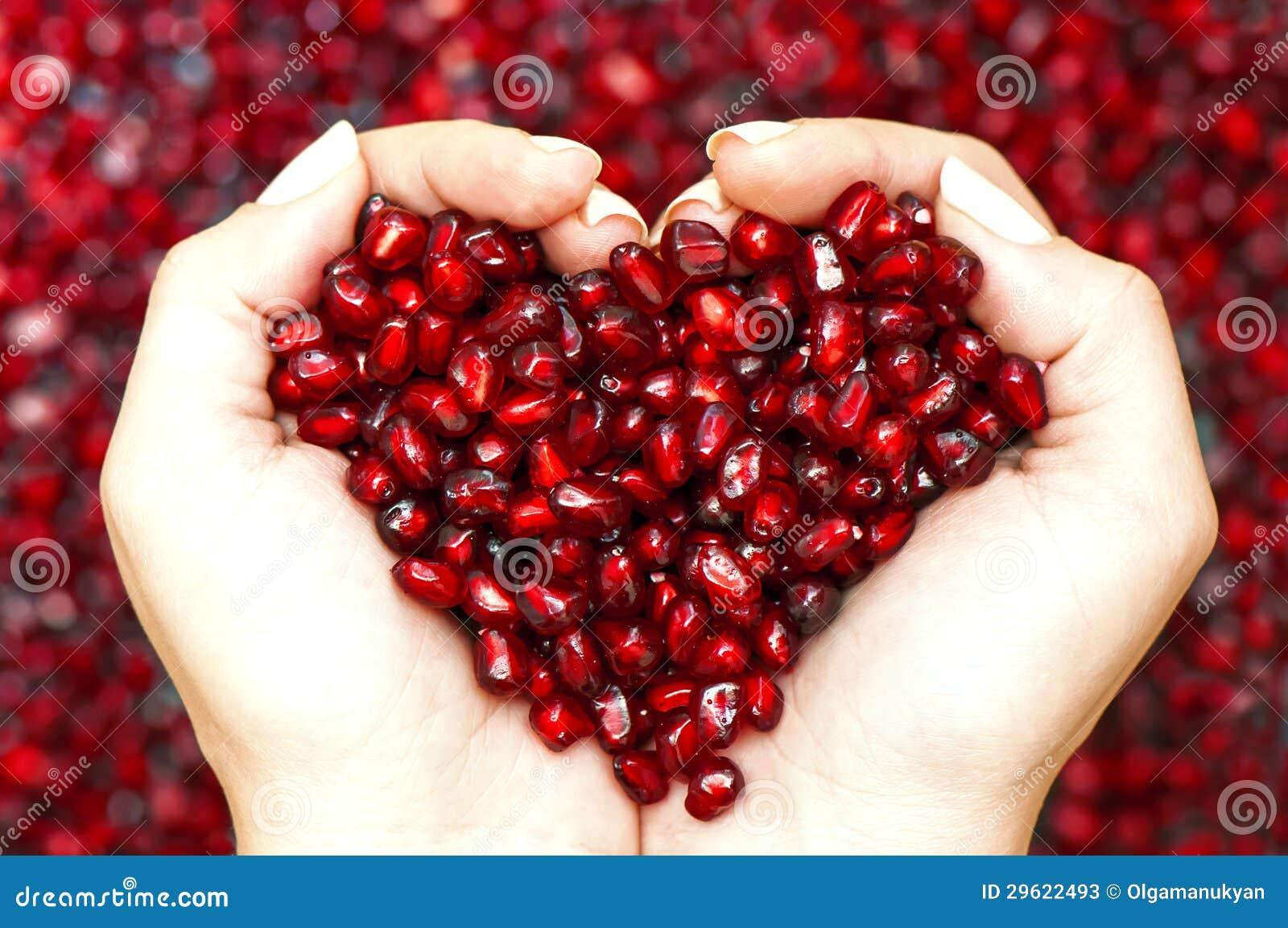 Σπόροι ροδιών που διαμορφώνουν την καρδιά στα χέρια