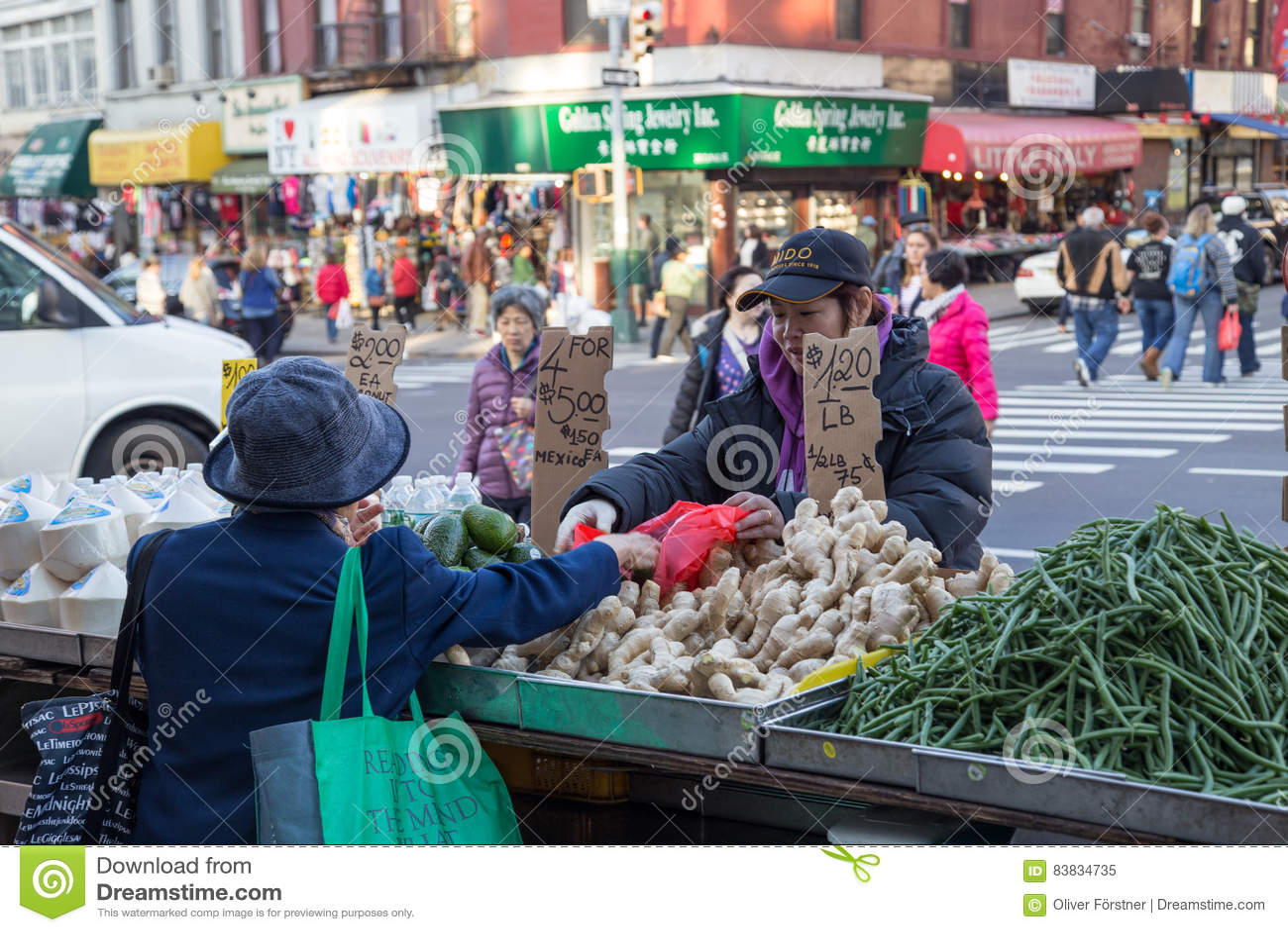 Στάβλοι αγοράς Chinatown στην πόλη της Νέας Υόρκης