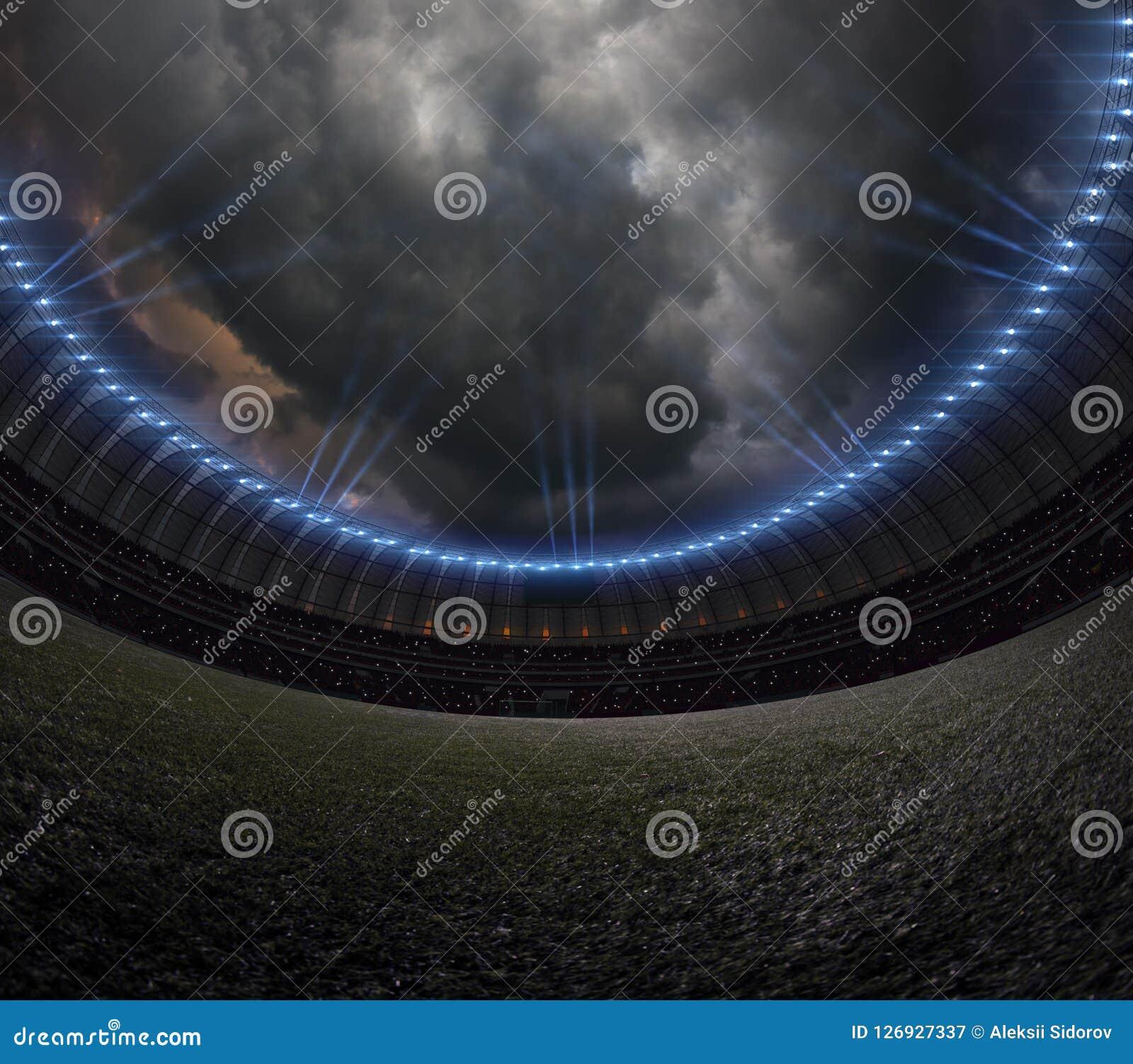 Στάδιο ποδοσφαίρου με το φωτισμό, πράσινος νυχτερινός ουρανός χλόης