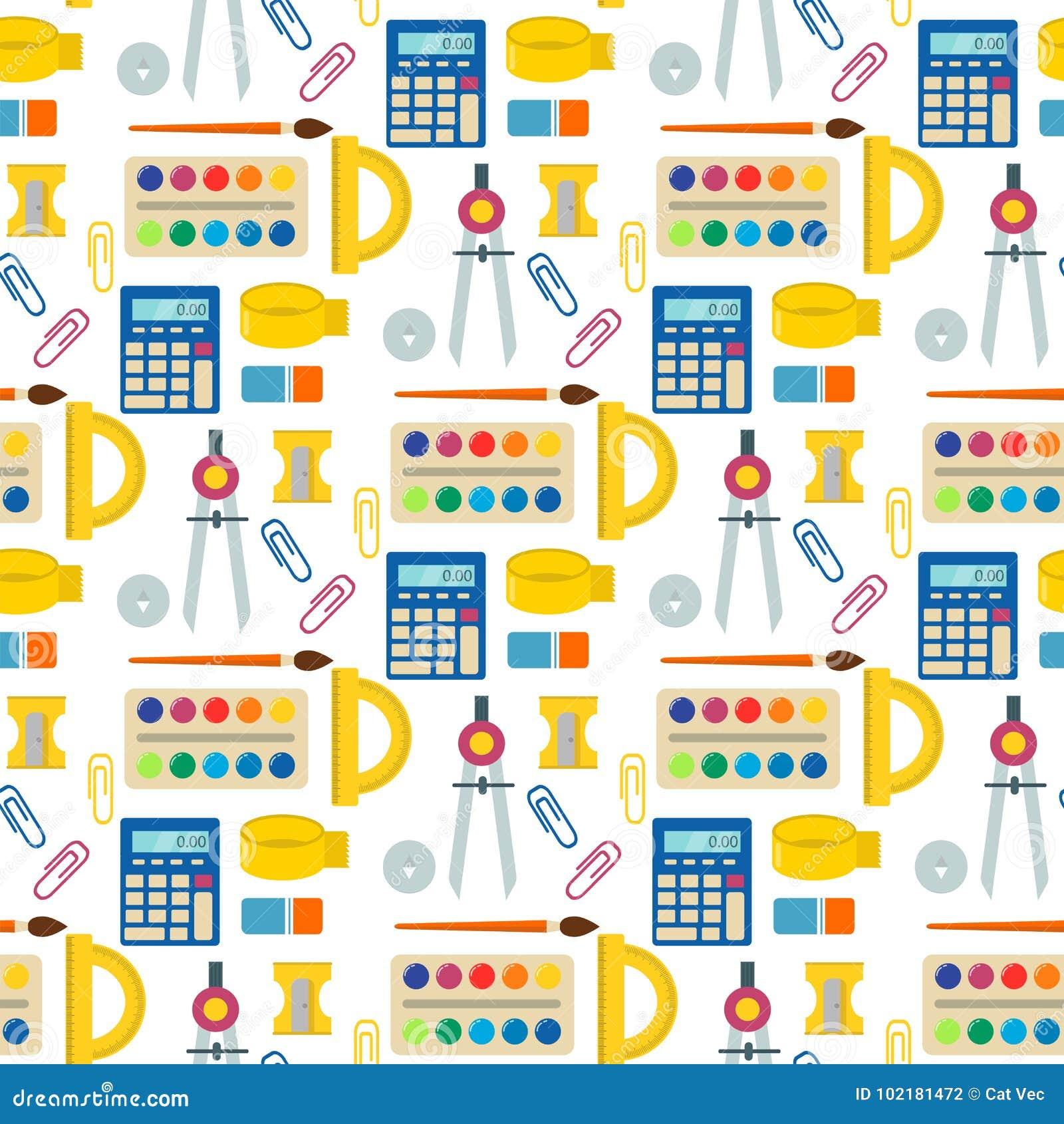 Στάσιμο εκπαιδευτικό βοηθητικό άνευ ραφής διάνυσμα σημειωματάριων σπουδαστών υποβάθρου σχεδίων παιδιών σχολικών προμηθειών