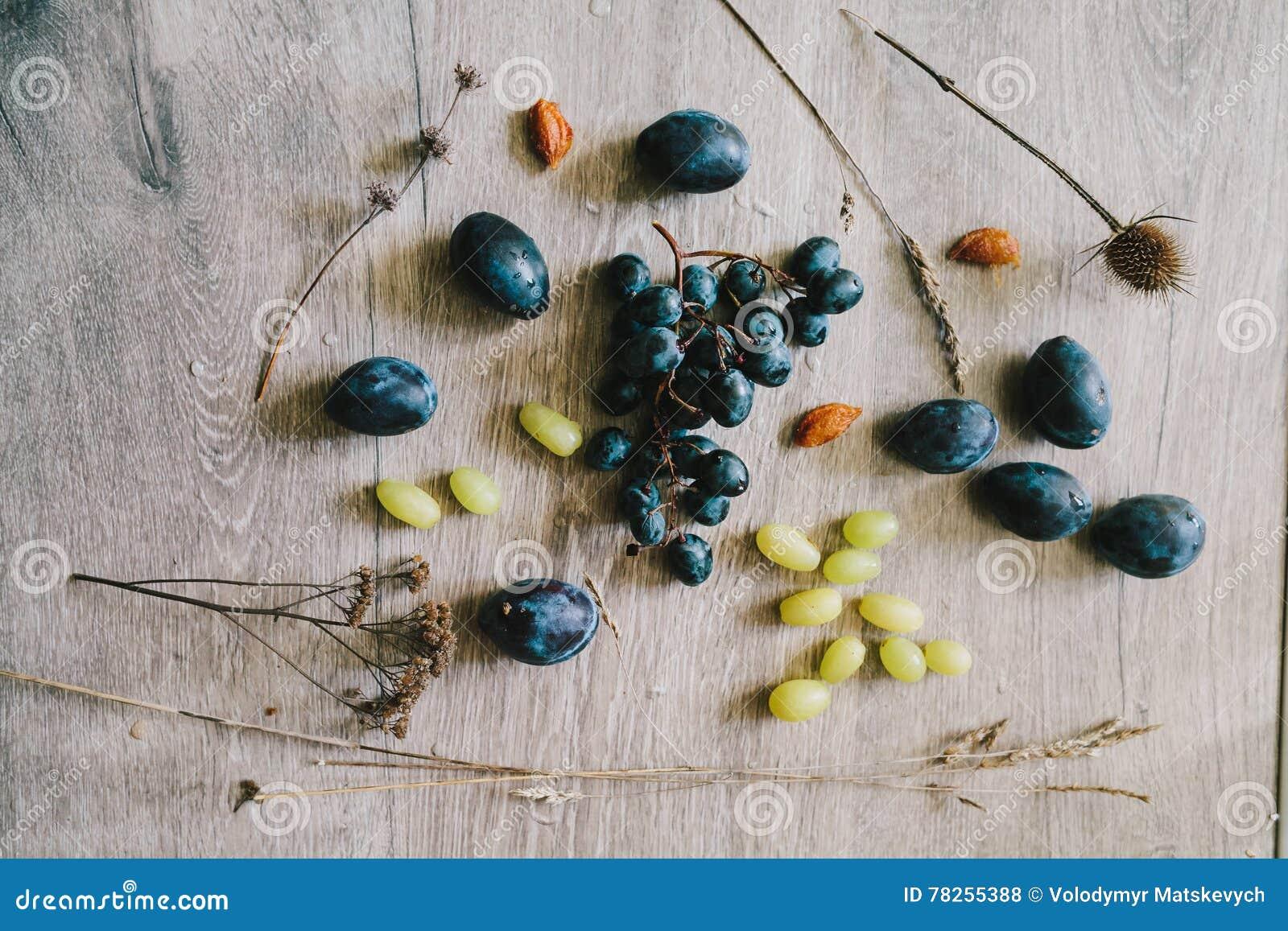 Στα ξύλινα σταφύλια υποβάθρου, δαμάσκηνα, ξηρά χλόη, σπόροι, thist