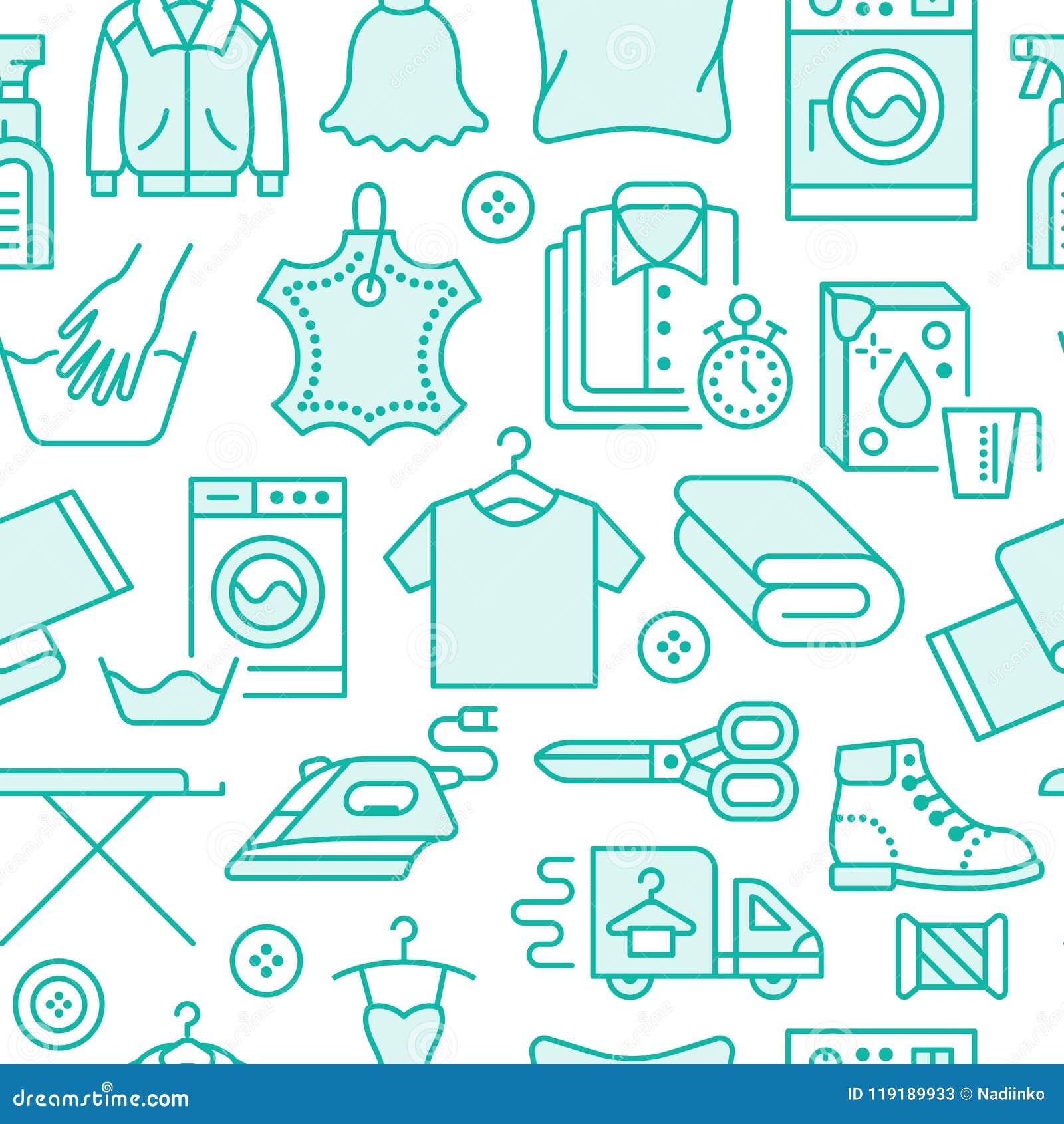 Στεγνός καθαρισμός, άνευ ραφής σχέδιο μπλε πλυντηρίων με τα εικονίδια γραμμών Laundromat εξοπλισμός υπηρεσιών, πλυντήριο, ενδυμασ
