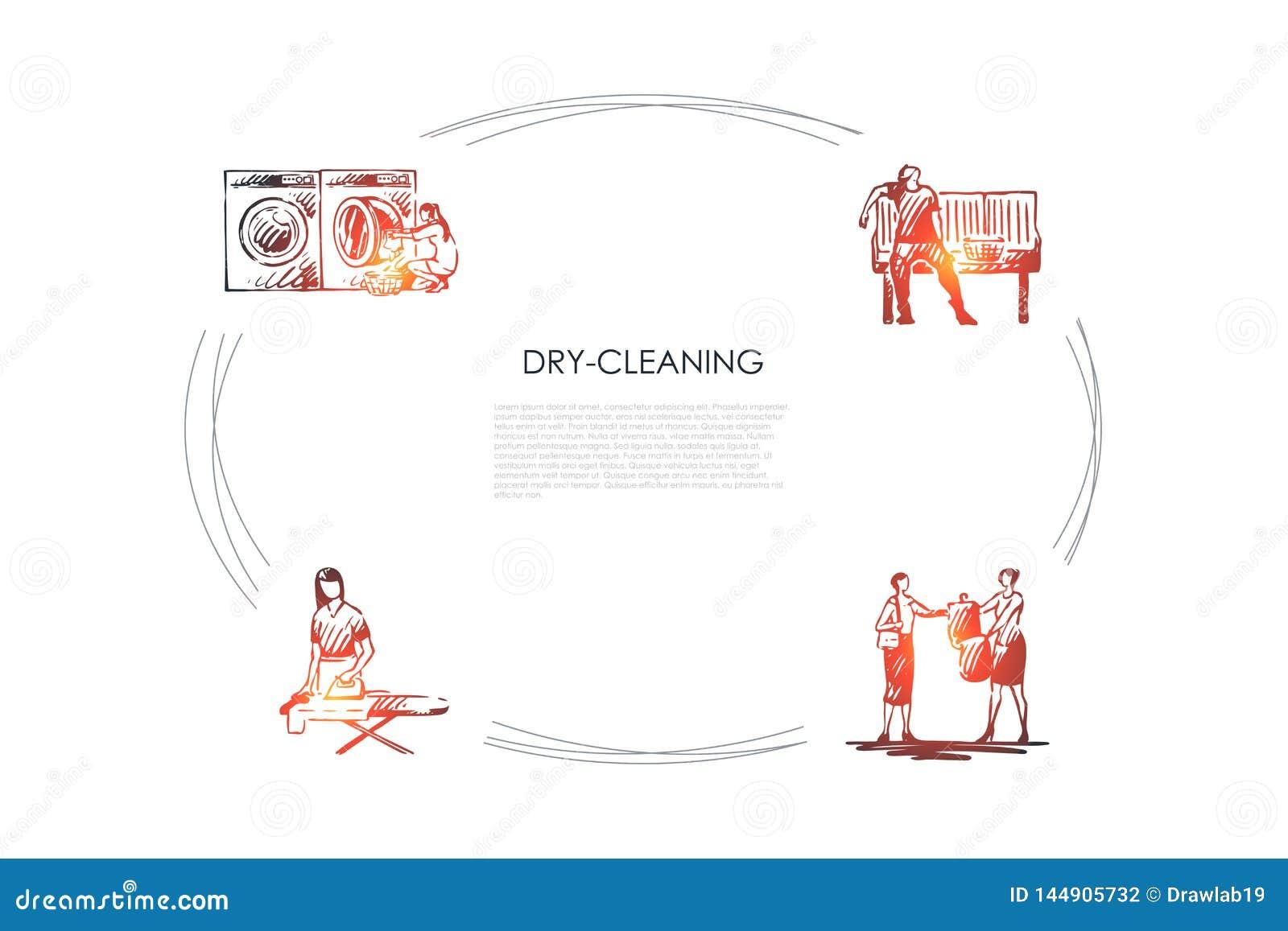 Στεγνό καθάρισμα - σιδέρωμα, χημικός καθαρισμός, πλύση μηχανών, σύνολο έννοιας ξήρανσης διανυσματικό