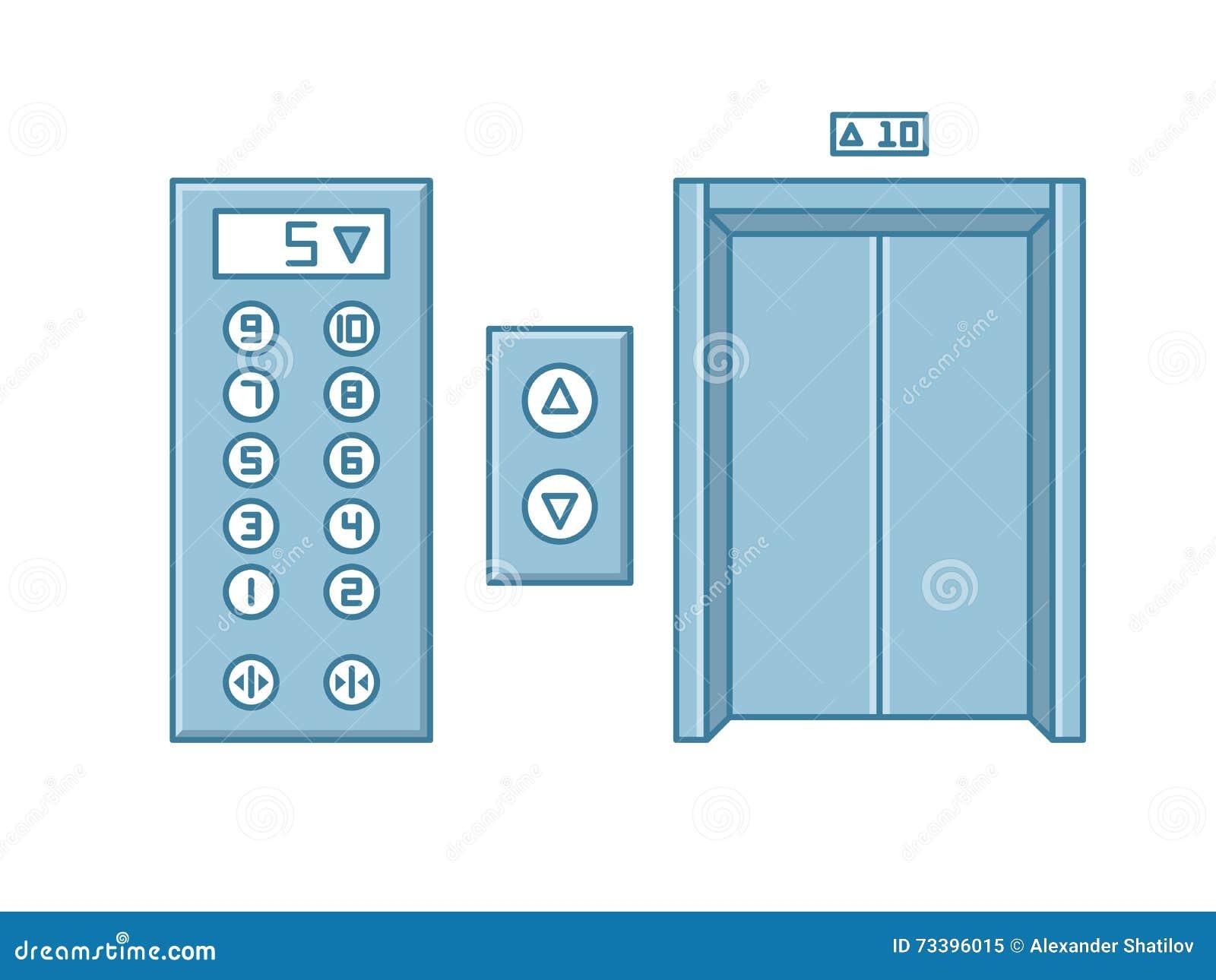 Στενοί ανελκυστήρας κτιρίου γραφείων και επιτροπή κουμπιών Απομονωμένο γραμμή διάνυσμα