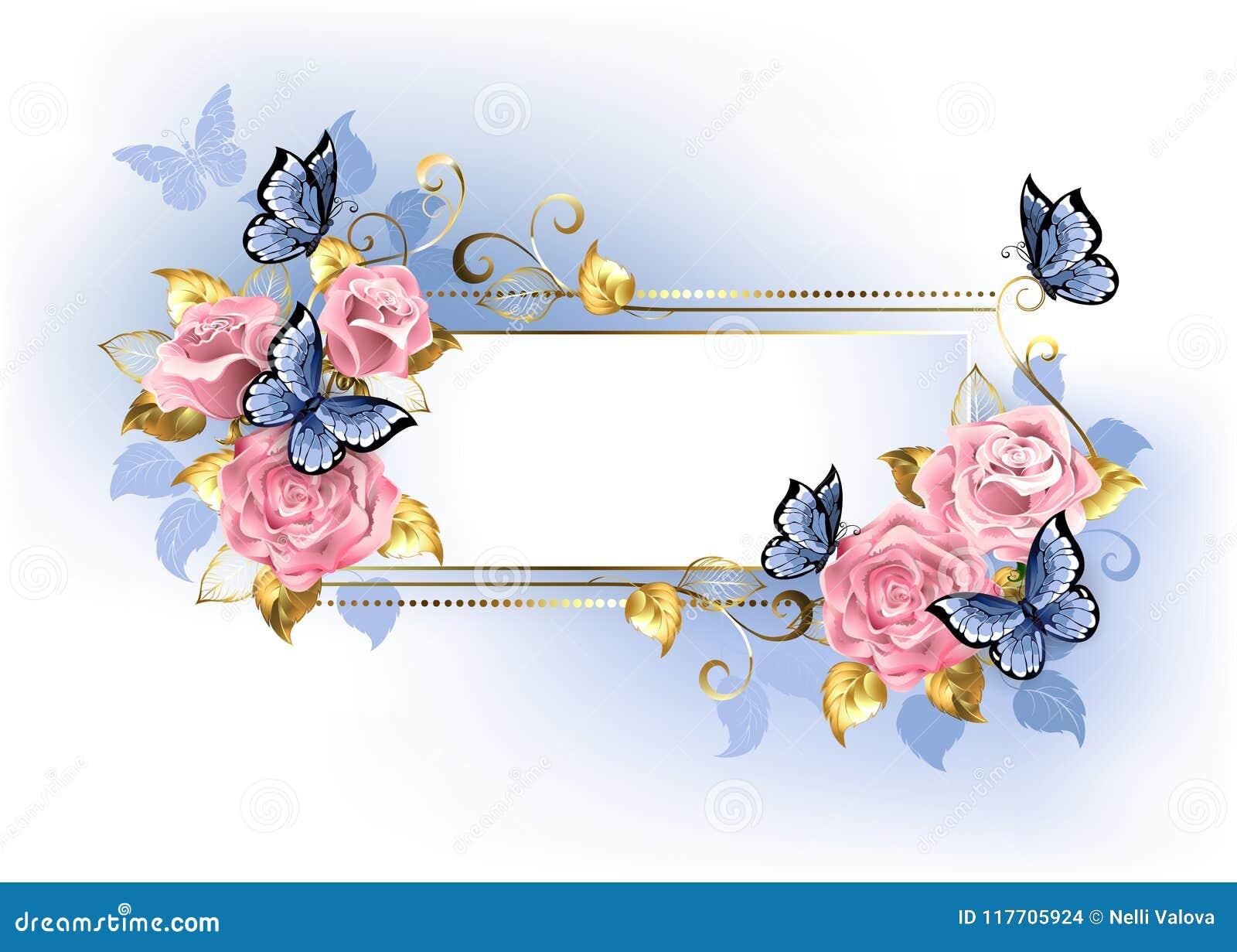 Στενό έμβλημα με τα ρόδινα τριαντάφυλλα