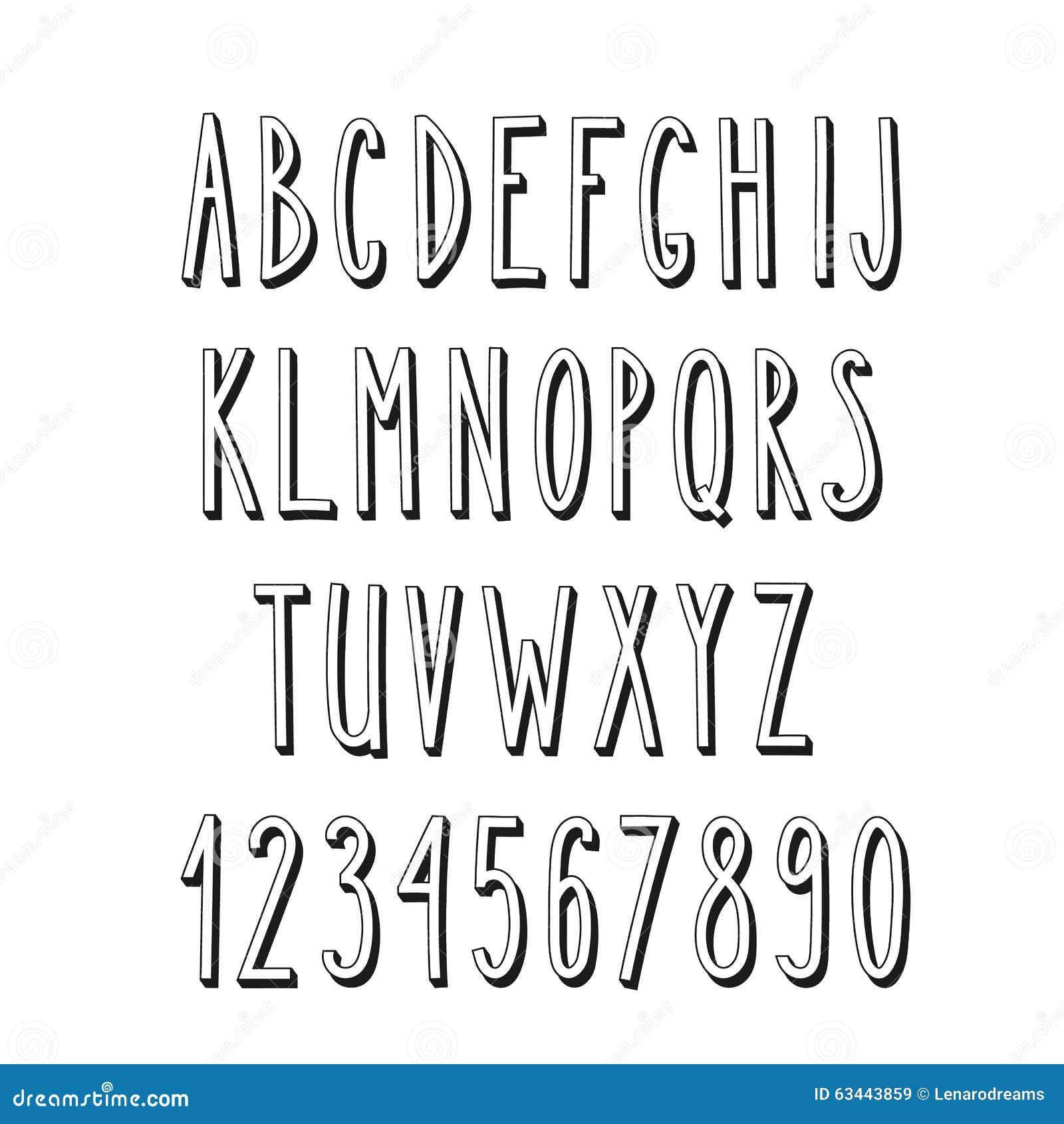 Στενό αλφάβητο Doodle, απλές επιστολές