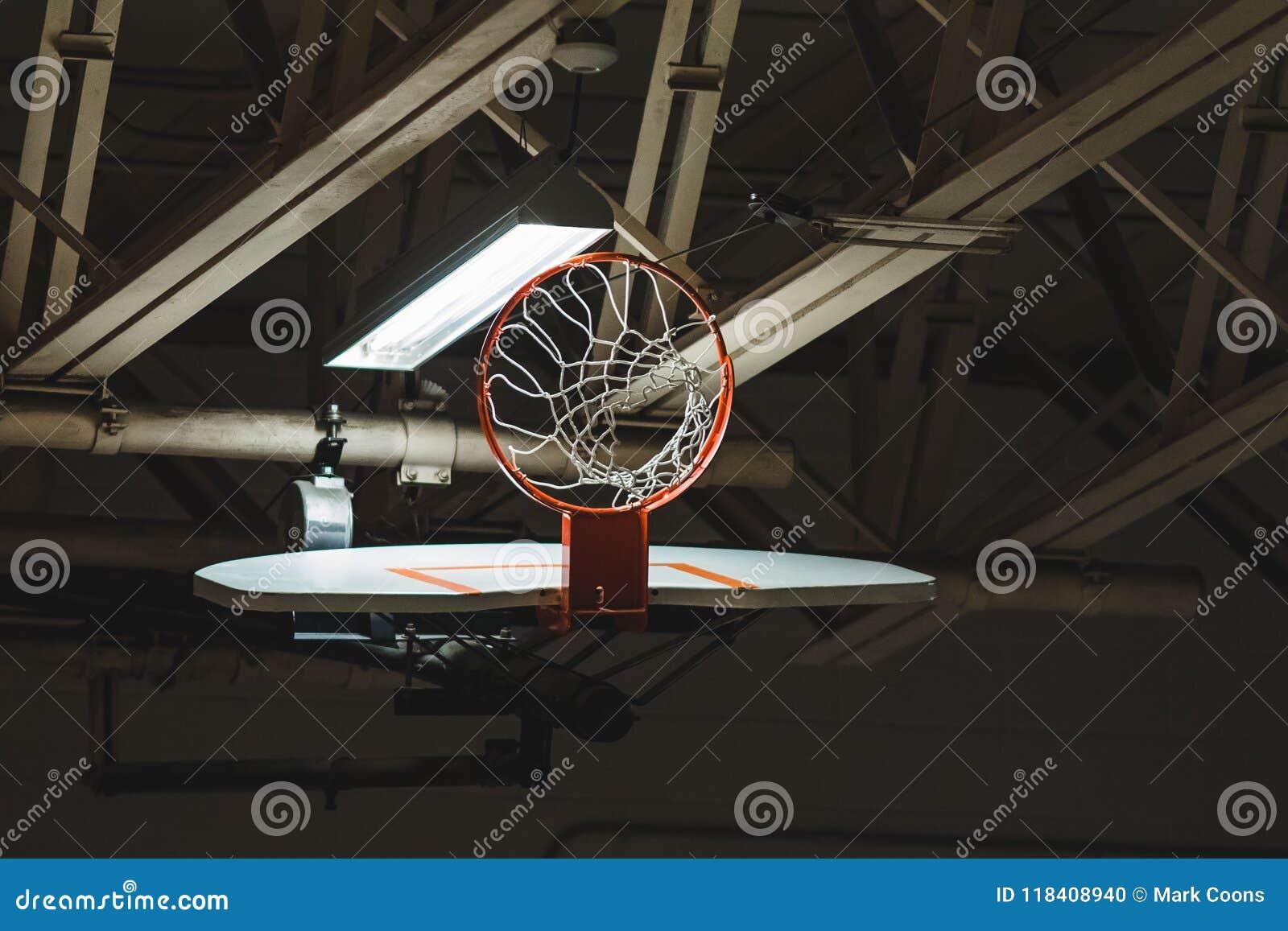 Στεφάνη και καθαρός ραχών καλαθοσφαίρισης που αποσύρονται επάνω για την αποθήκευση